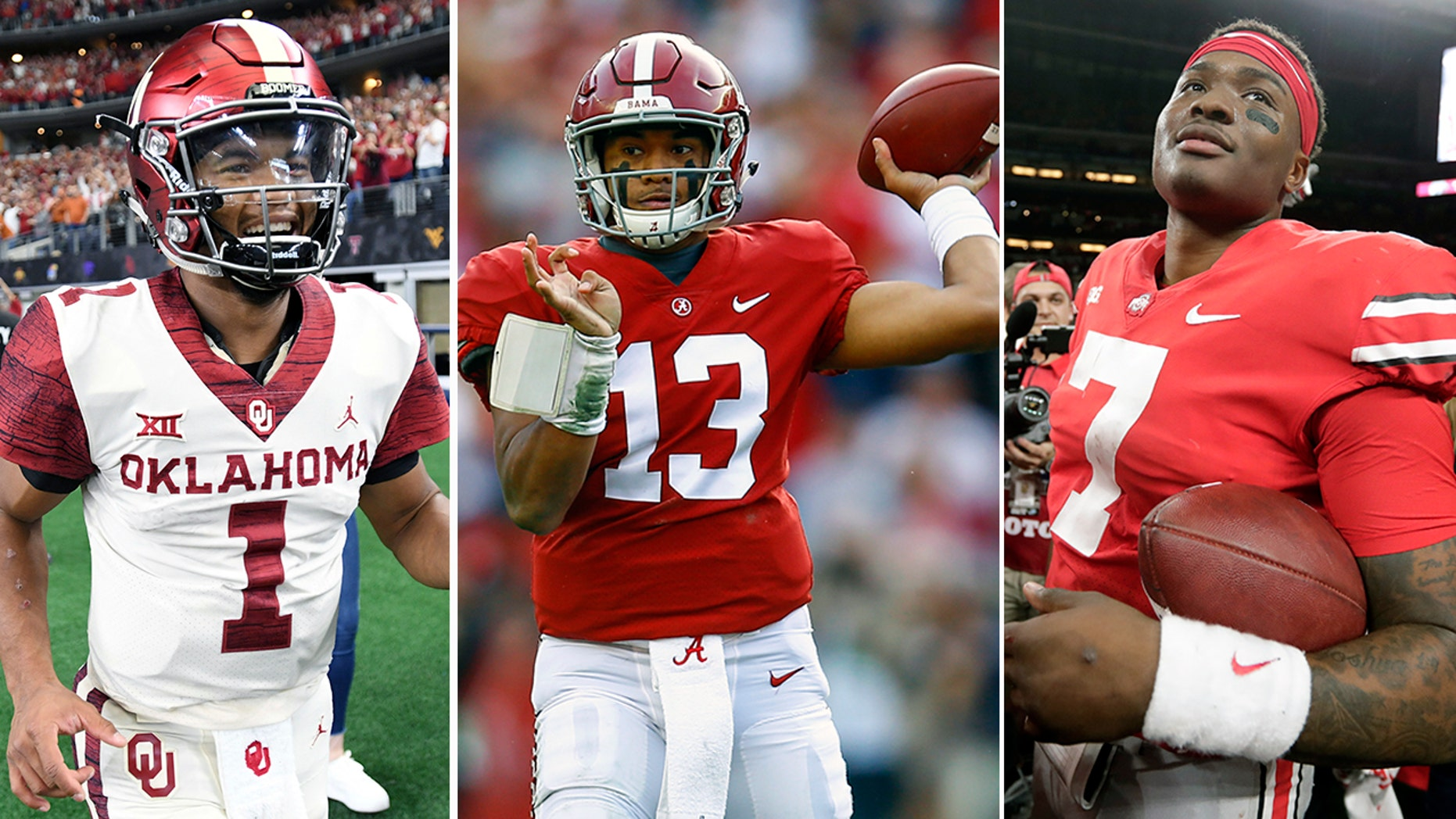 FROM LEFT: Oklahoma quarterback Kyler Murray, Alabama quarterback Tua Tagovailoa and Ohio State quarterback Dwayne Haskins (AP Photo/Butch Dill)