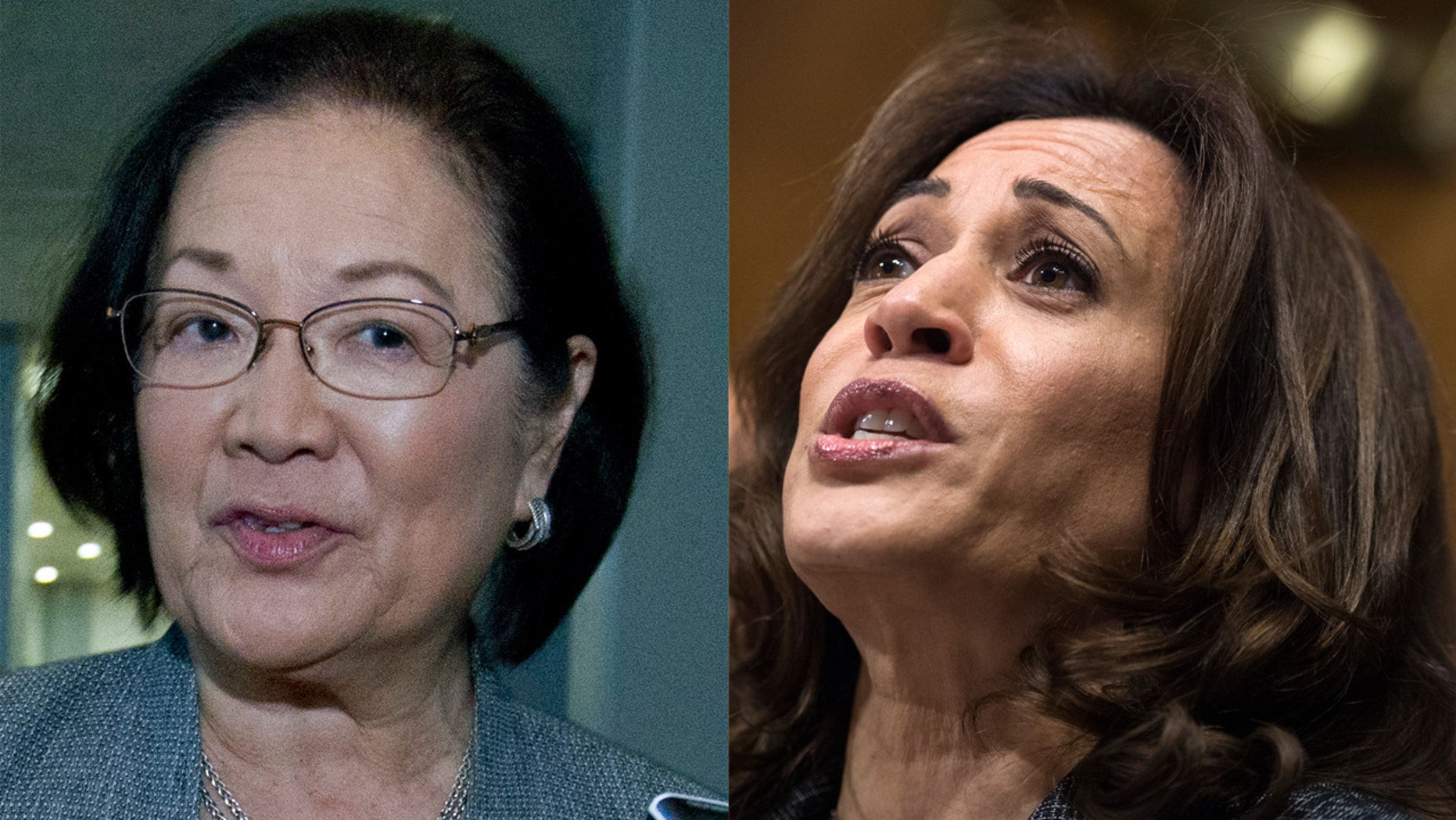Sens. Kamala Harris, D-Calif., and Mazie Hirono, D-Hawaii, raised concerns about court nominee Brian Buescher's membership in the Knights of Columbus.