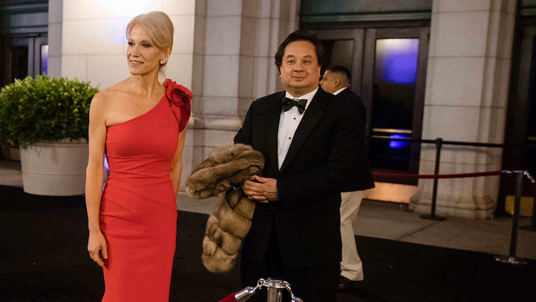 Kellyanne and George Conway, shown at a Washington dinner in this Jan. 19, 2017 photo, are publicly at odds over President Trump these days. (AP Photo/Matt Rourke)