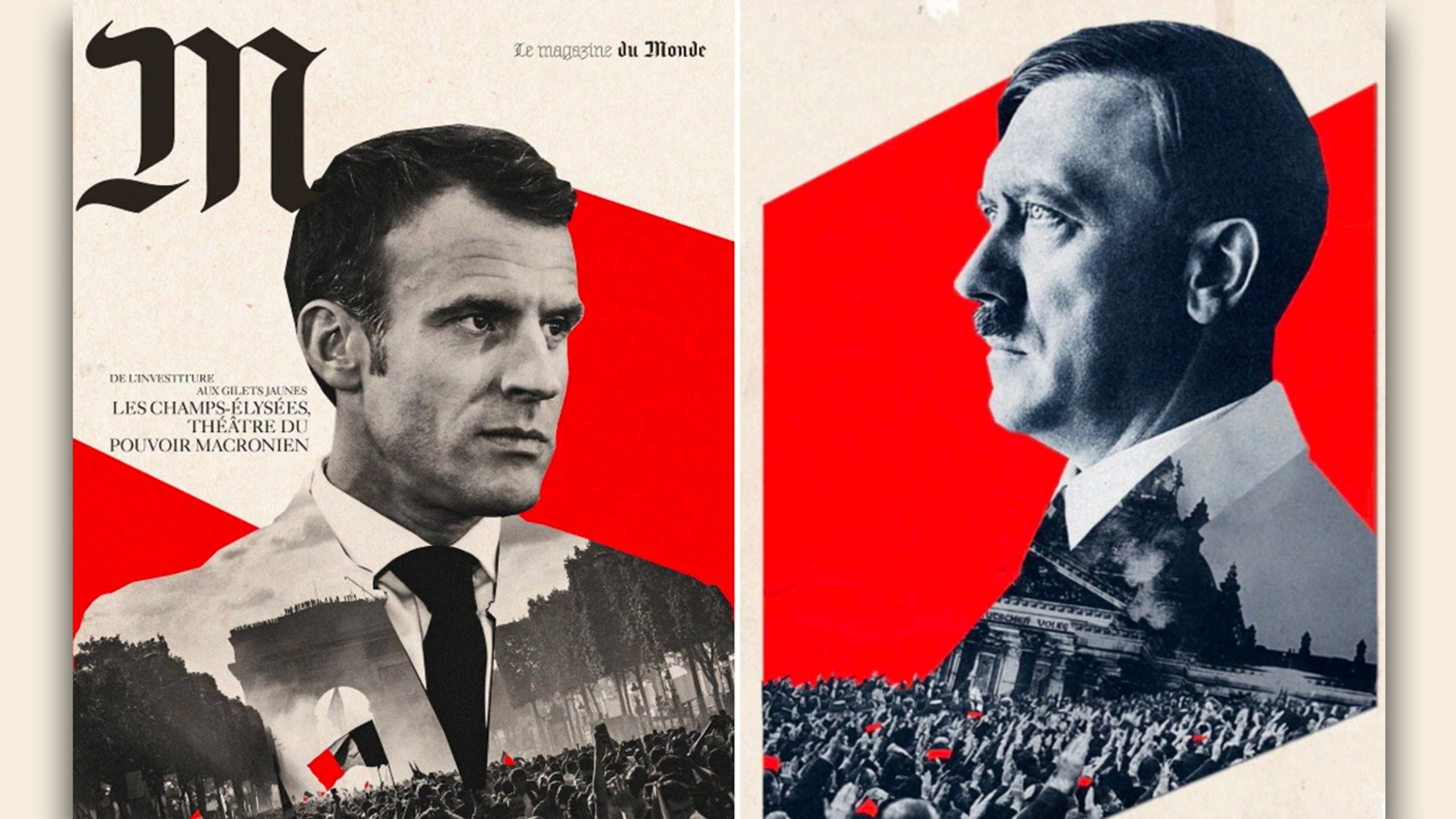 Le Monde apologized after readers said its Saturday magazine cover likened French President Emmanuel Macron to German dictator Adolf Hitler.