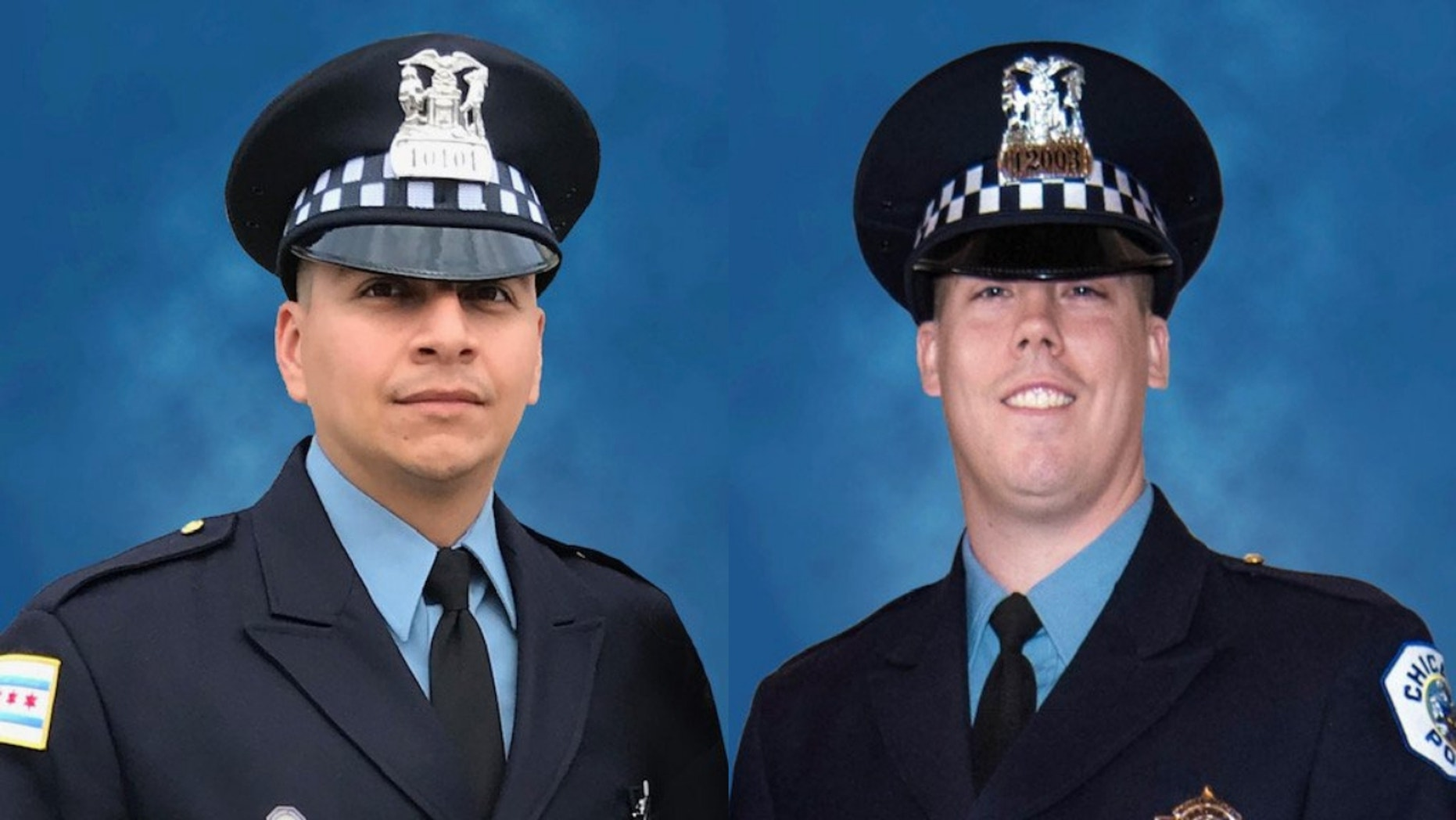 Eduardo Marmolejo, 36, and Conrad Gary, 31, were killed when they were struck by a train while responding to a call of shots fired, officials said.