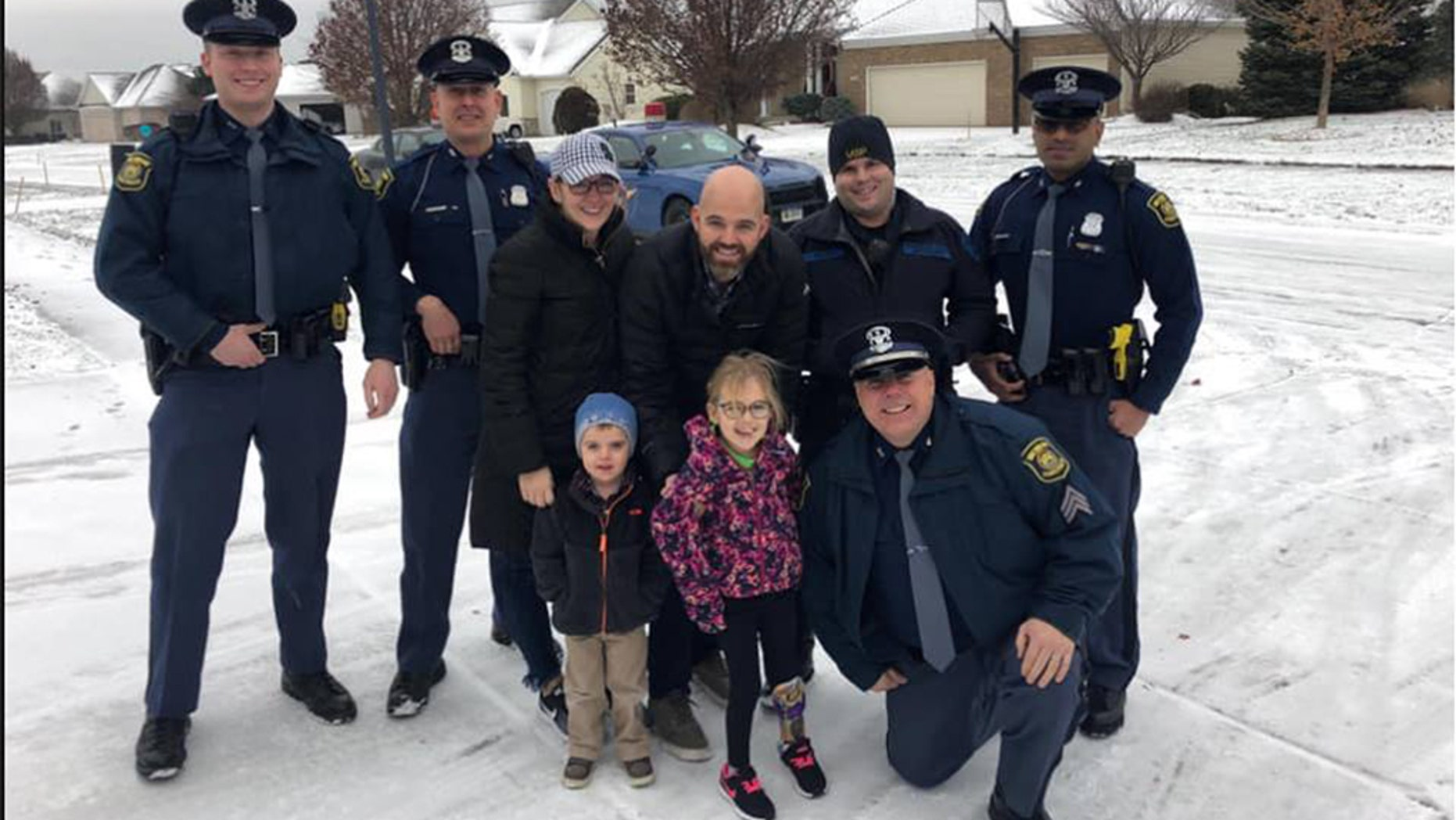 "A 6-year-old girl in Michigan got ""a very special escort home"" upon her release from a roughly three-month stint in the hospital, police revealed Tuesday."