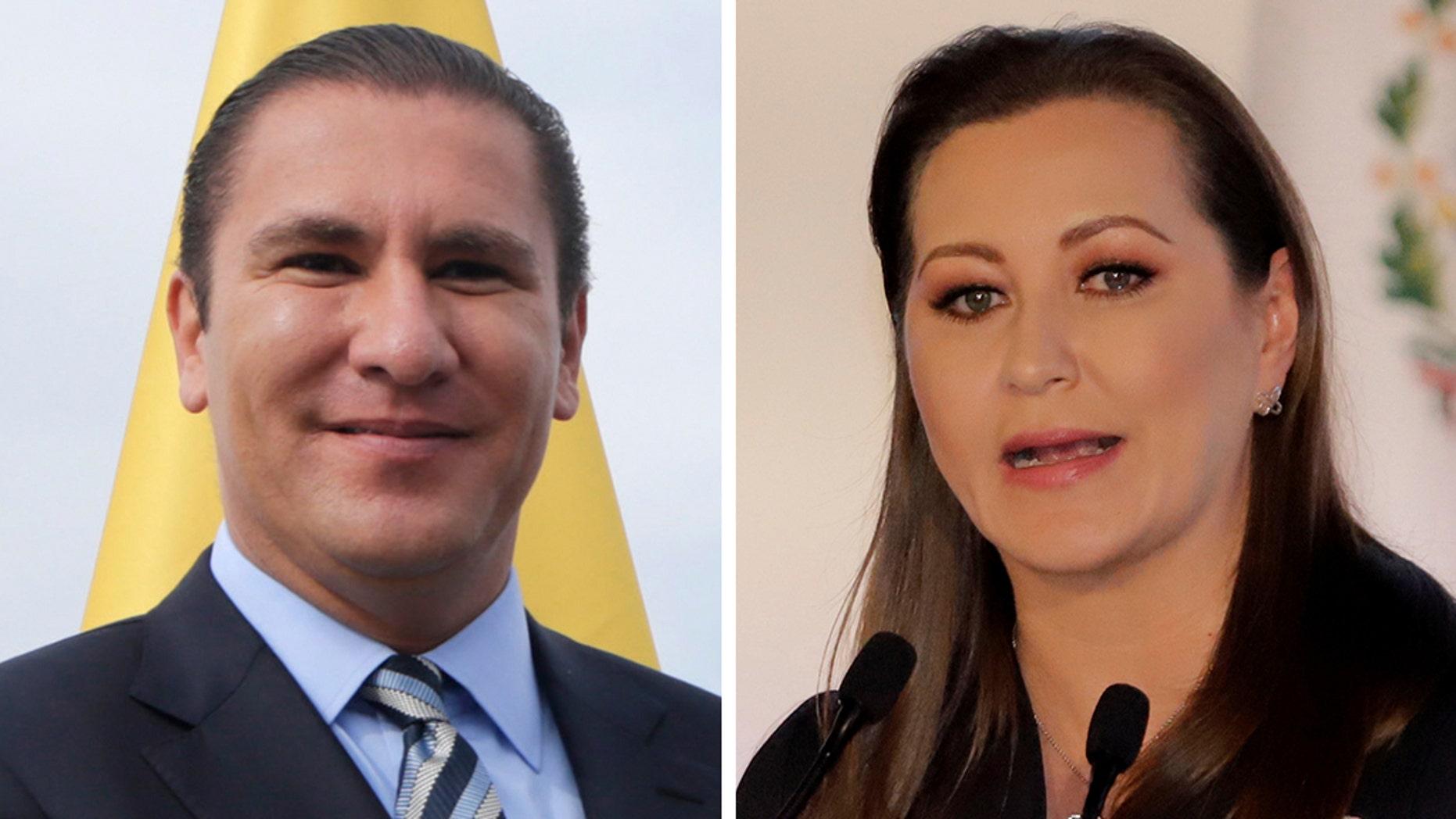 Rafael Moreno Valle, left, and Puebla Governor Martha Erika Alonso