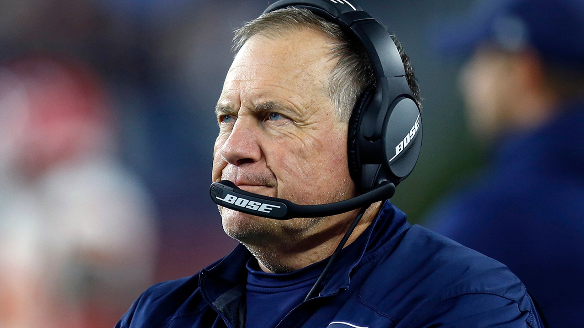 In this Sunday, Oct. 14, 2018 file photo, New England Patriots head coach Bill Belichick watches from the sideline during the second half of an NFL football game against the Kansas City Chiefs in Foxborough, Mass.