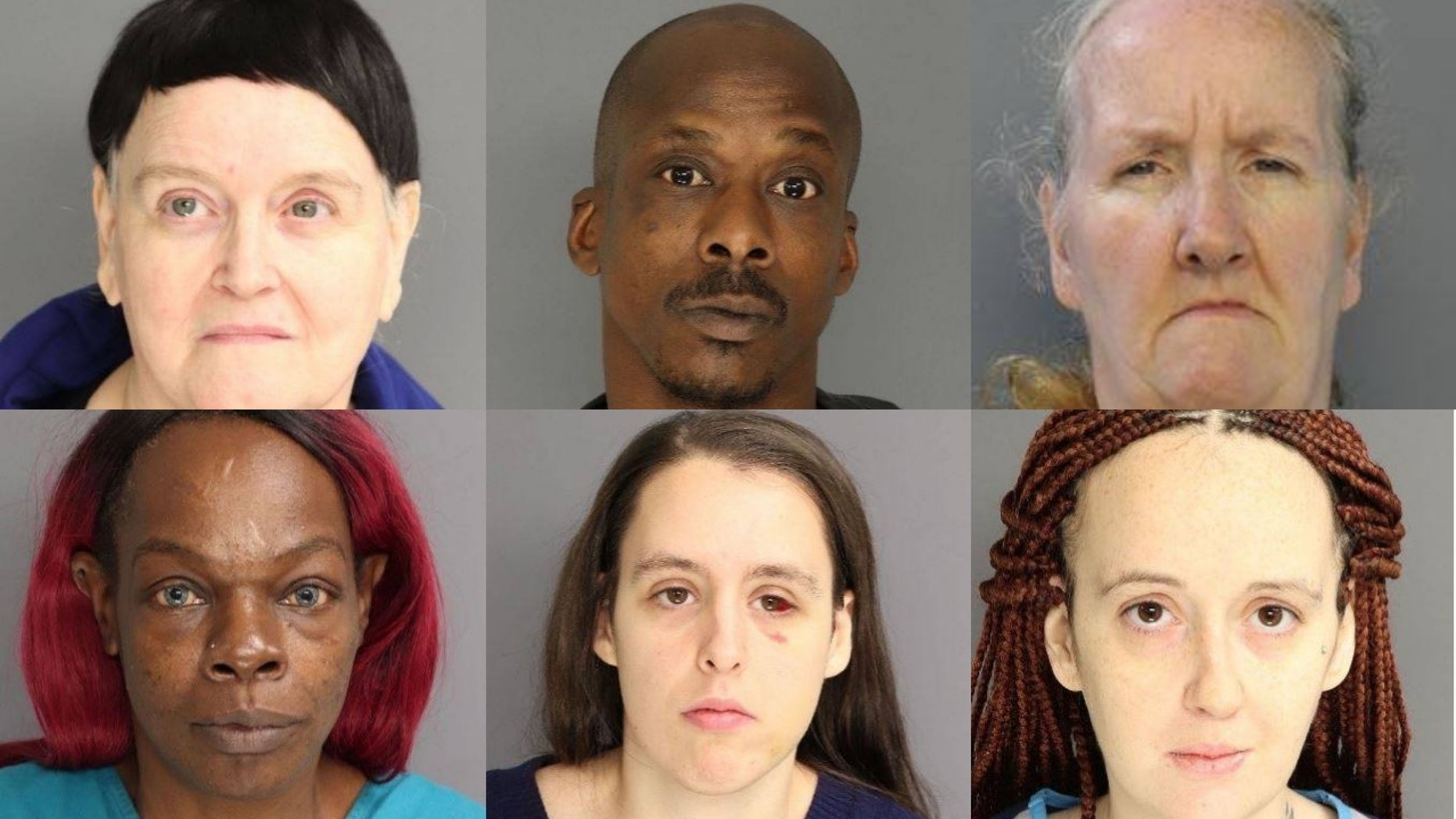 From top left, Patricia Gamarra, Homer Searcy, Mary Buchan, Natacha Smith, Bridget Buchan and Patricia Buchan were arrested for allegedly abusing a 3-year-old boy.