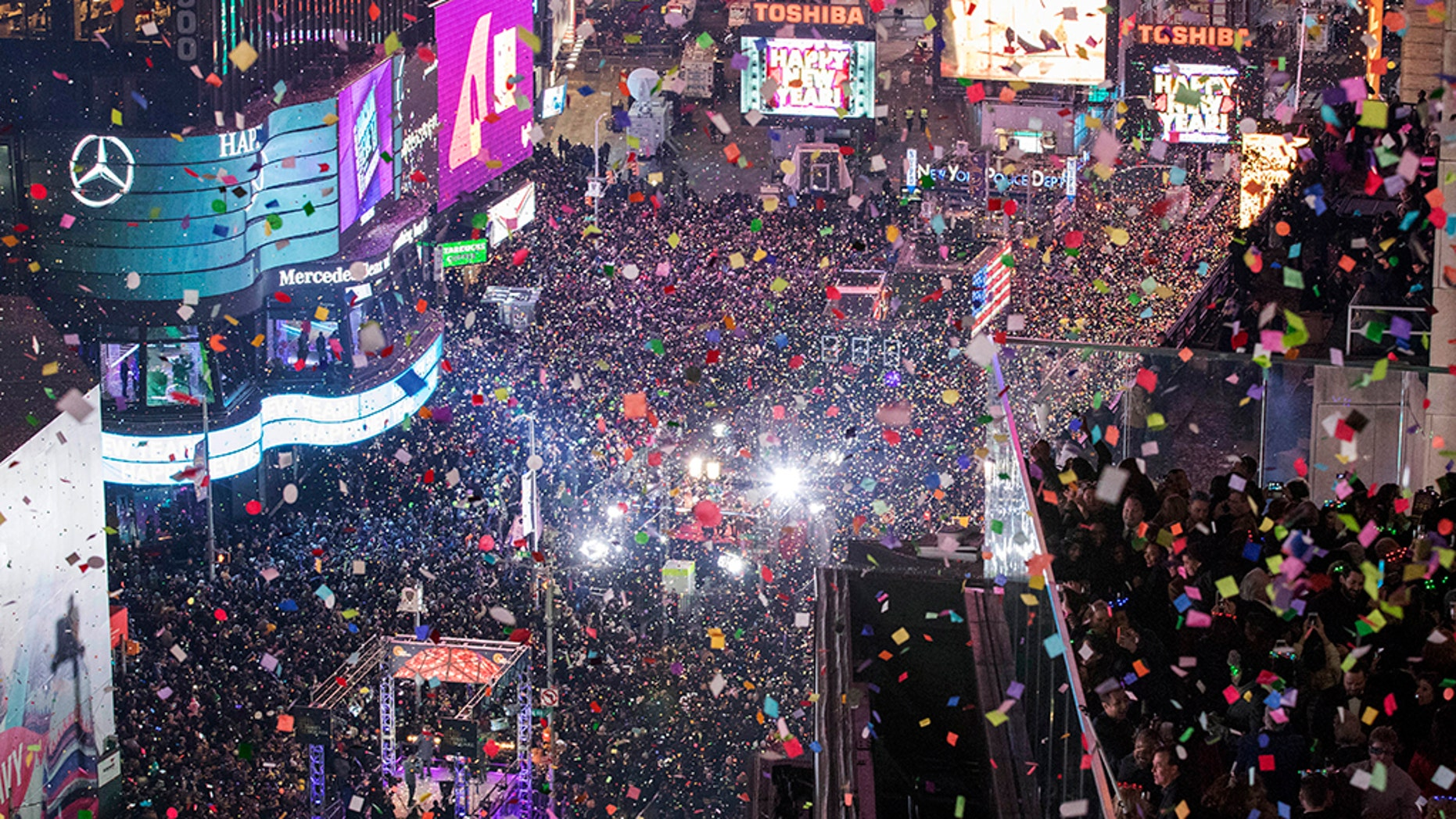 On Jan. 1, 2017 revelers celebrate the new year in New York's Times Square. (AP Photo/Mary Altaffer, File)