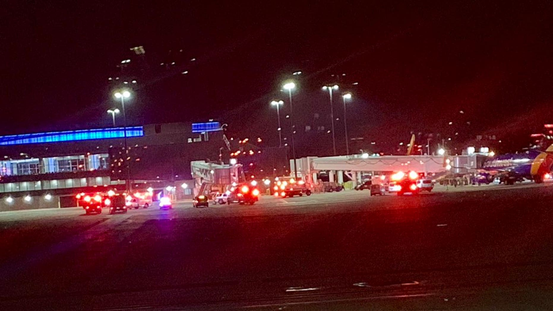 At an American airport collapsed ladder with passengers