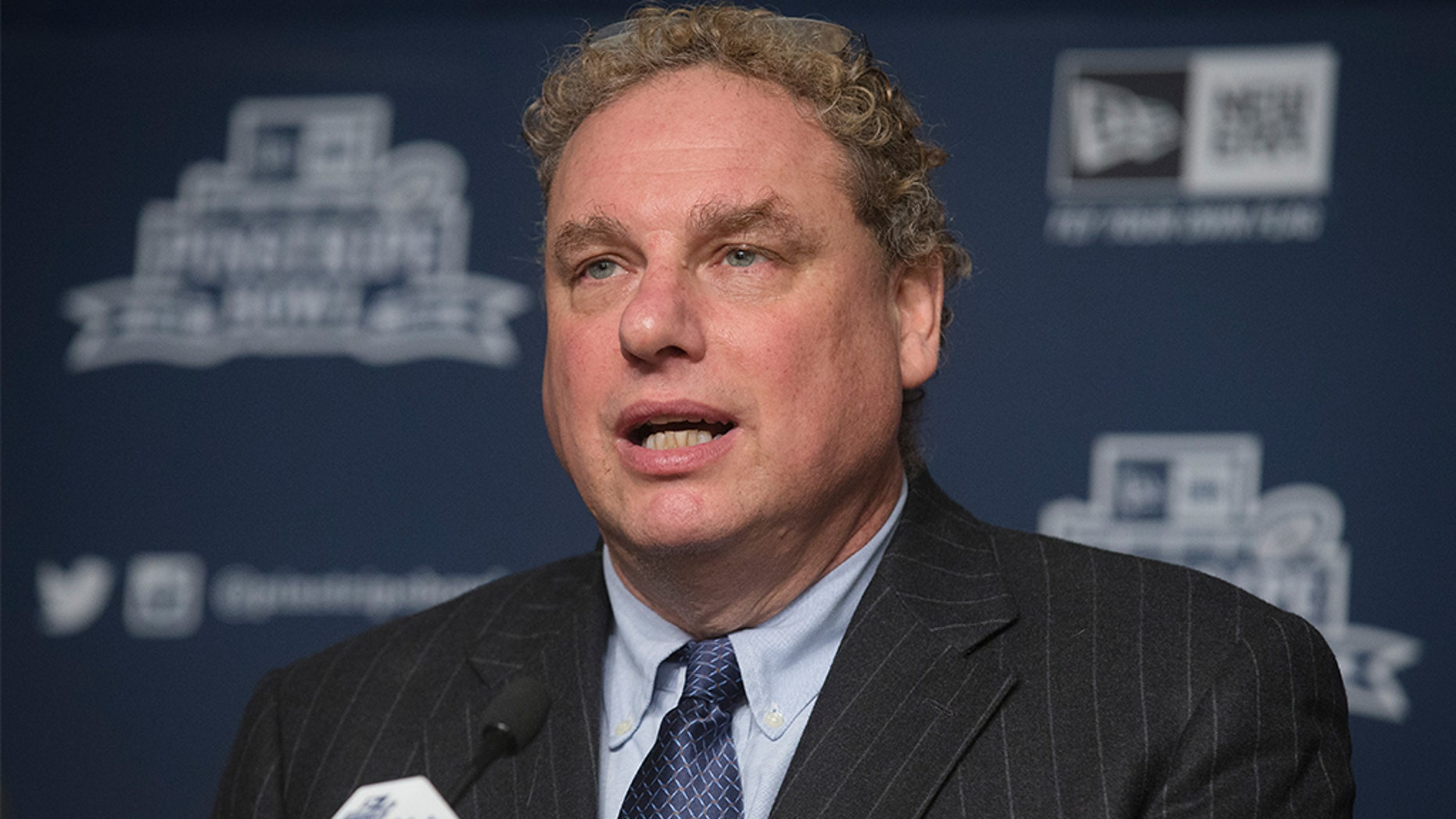 New York Yankees president Randy Levine speaks during a news conference at Yankee Stadium regarding the upcoming Pinstripe Bowl between Penn State and Boston College, Tuesday, Dec. 9, 2014, in the Bronx borough of New York. (AP Photo/John Minchillo)