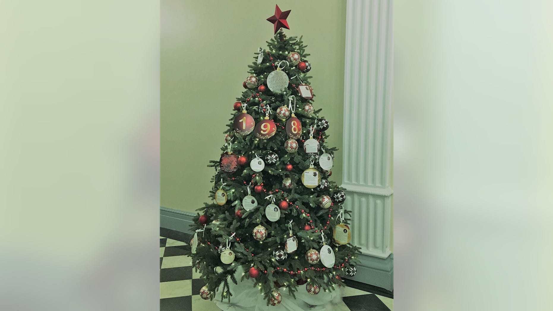 The White House Recovery and Remembrance Tree in the Eisenhower Executive Office Building, Christmas 2018 in Washington, D.C.