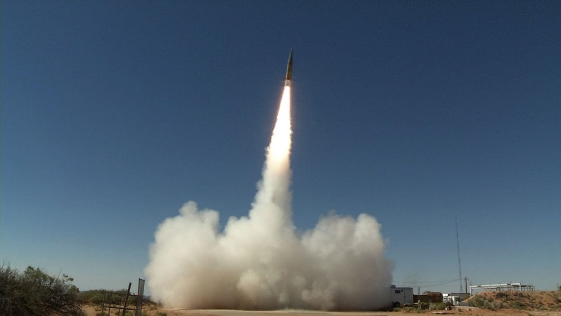 File photo - A Sabre short-range ballistic missile launches in June 2017 at White Sands Missile Range, New Mexico, for a test of the Patriot Advanced Capability-3 (PAC-3) Missile Segment Enhancement. (U.S. Army photo by U.S. Army Space and Missile Defense Command/Army Forces Strategic Command)