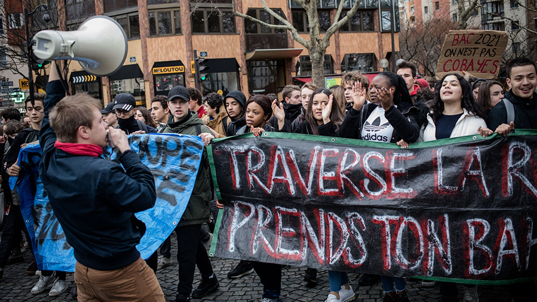 """French students outraged by police brutality against protesting high school teenagers and government policies, went to the streets on Friday with a message to President Emanuel Macron: you had your shot, time to step aside.<br data-cke-eol=""""1"""">"""