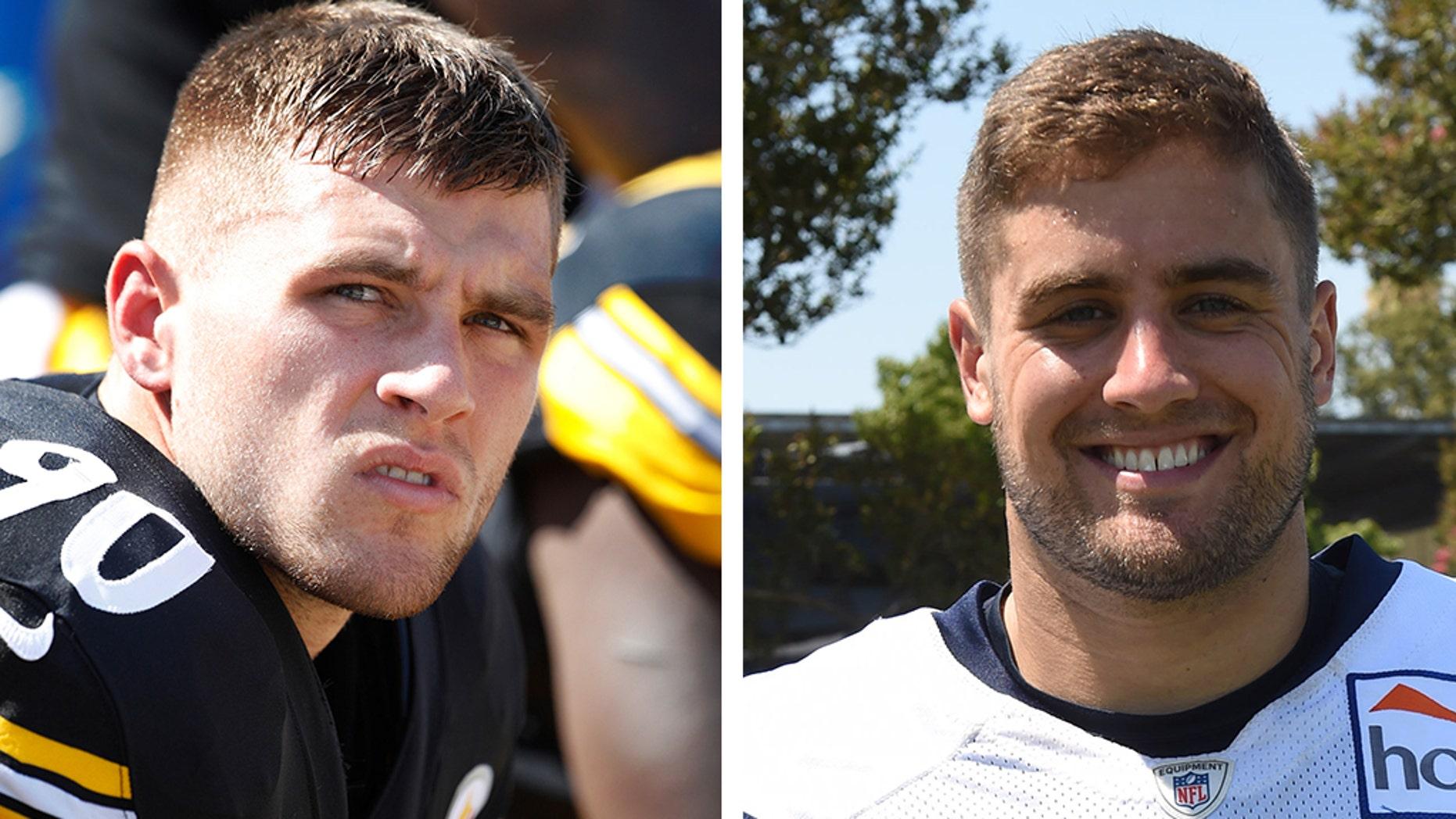 T. J. Watt, left, is a Steelerslinebacker and Derek Watt, right, is a Chargers fullback. (Getty, File)
