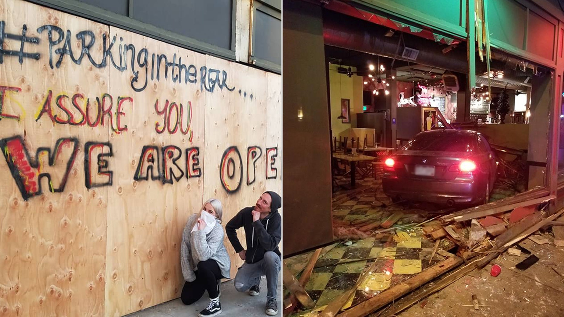 Employees at The Hornet pose with the plywood covering the damage to the restaurant after a car rammed through the windows on Saturday morning.