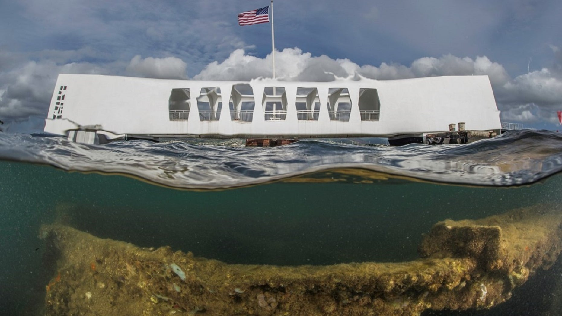 FILE: A view of the USS Arizona Memorial that shows the ship's wreckage.