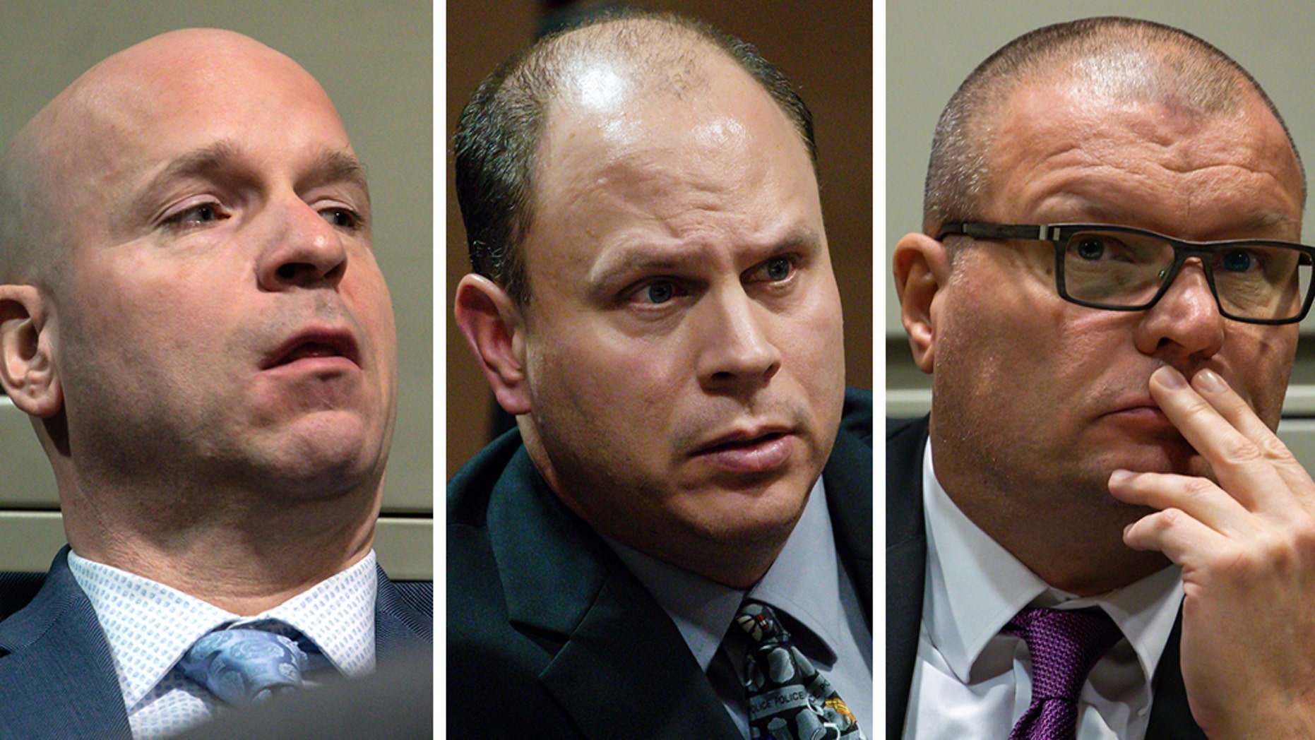 The trial of (left to right) Officer Joseph Walsh, Officer Thomas Gaffney and ex-Detective David March could reach its verdict later in December.