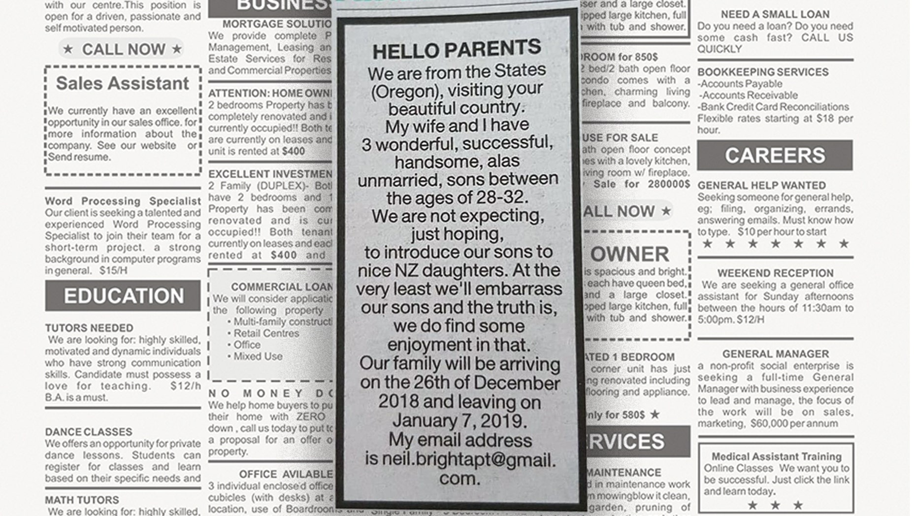 Earlier this week, an Oregon man named Neil placed a classified ad in the New Zealand Herald pursuing blind dates for his three sons during their upcoming vacation.