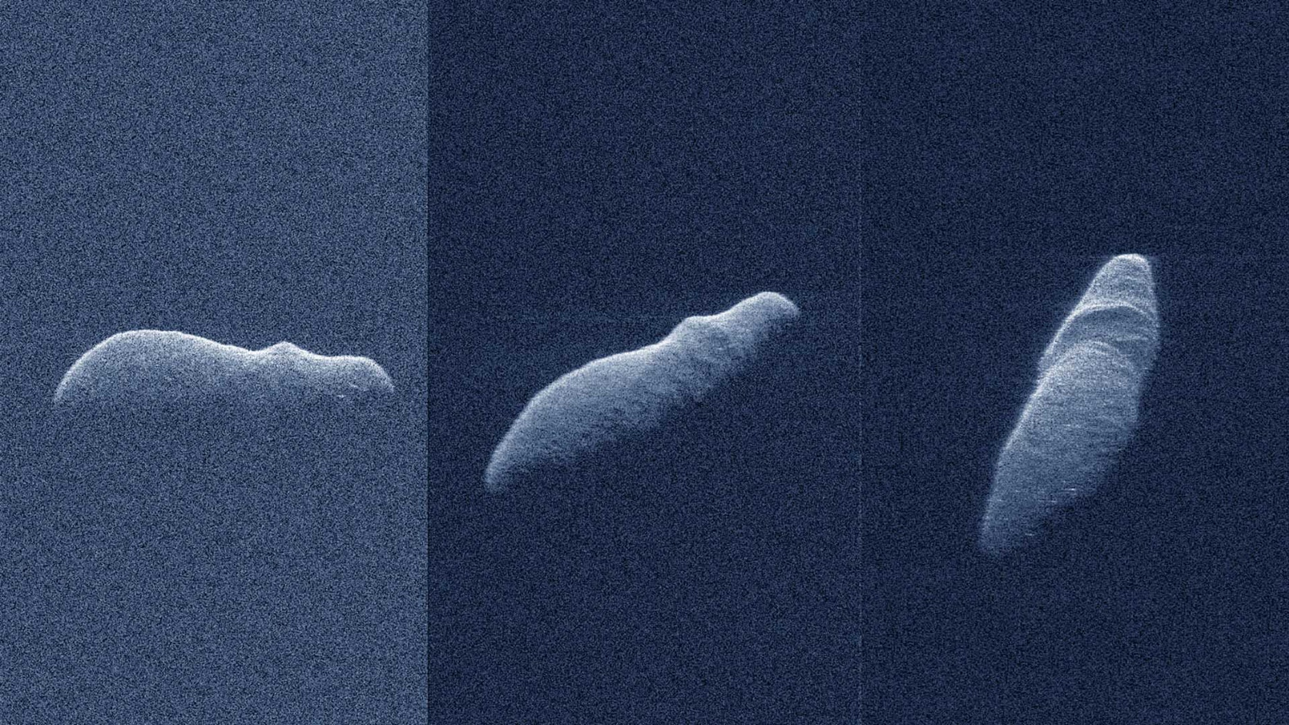 These three radar images of the near-Earth asteroid 2003 SD220 were recorded on December 15 and 17, 2018.