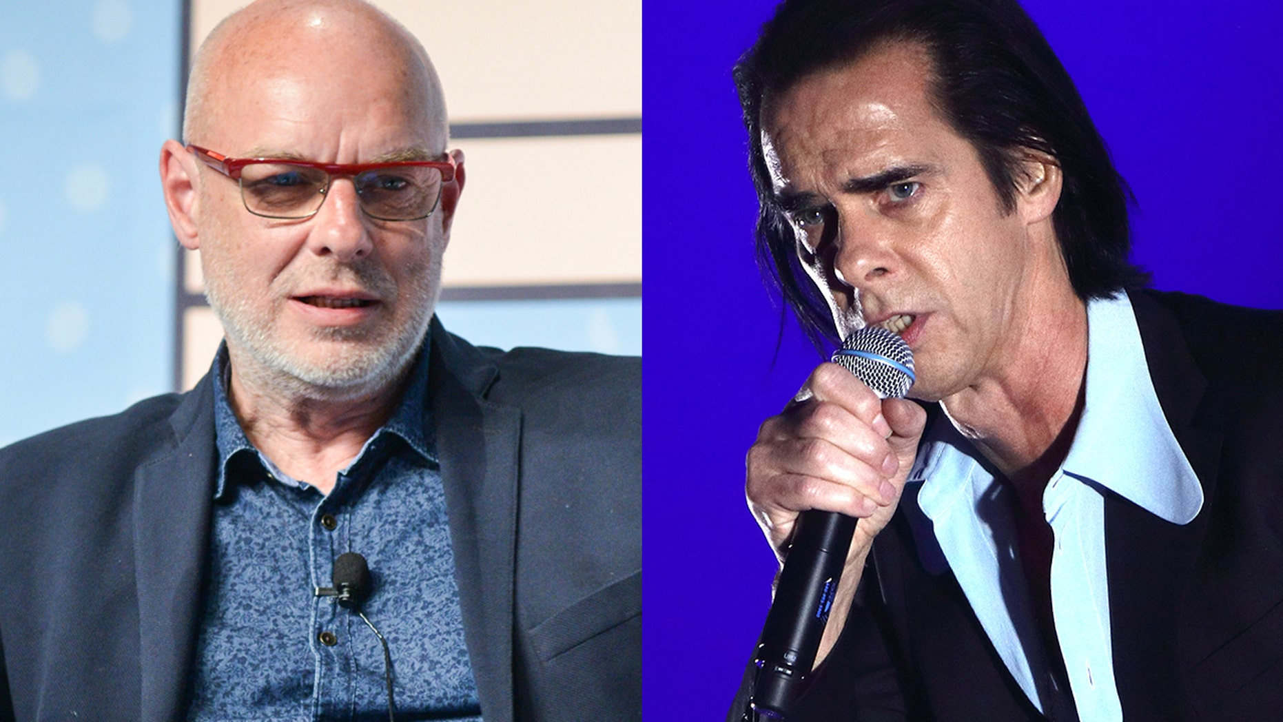 """Nick Cave, right, said Brian Eno's refusal to play in Israel is """"cowardly and shameful."""""""