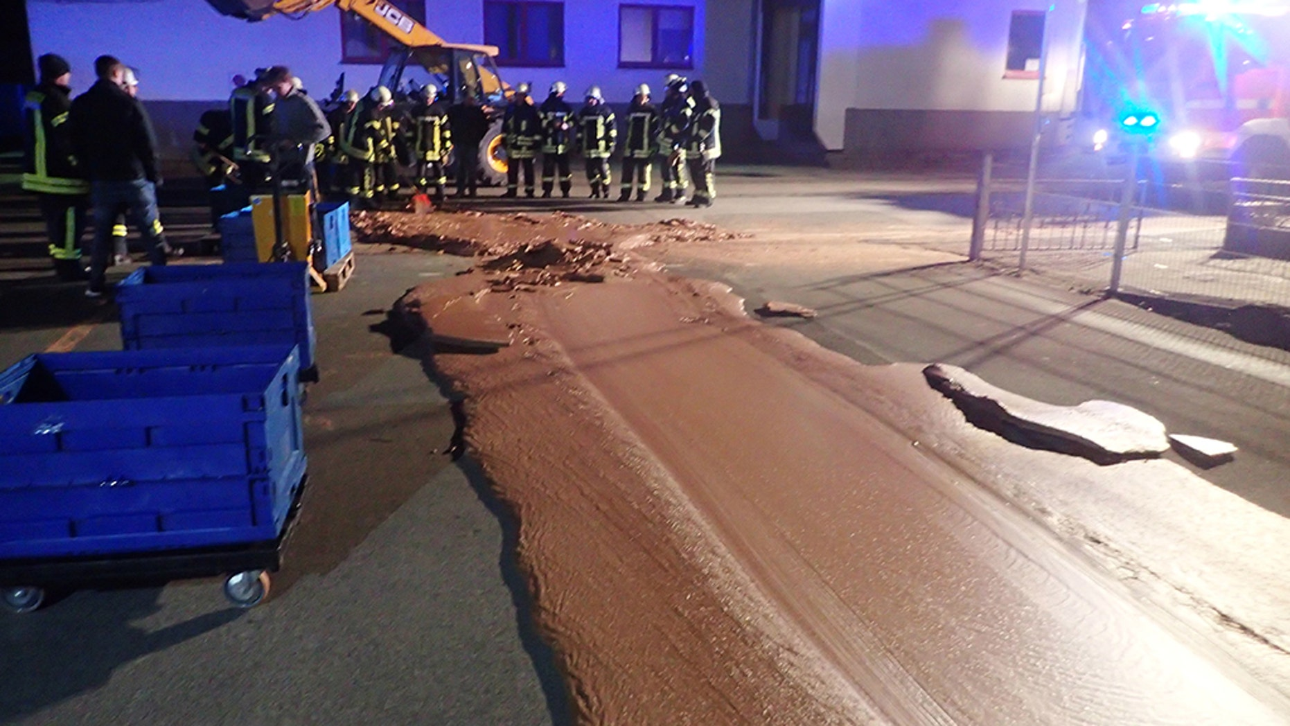 Spilt chocolate is seen on a road in Werl, Germany December 10, 2018 in this picture obtained from social media.