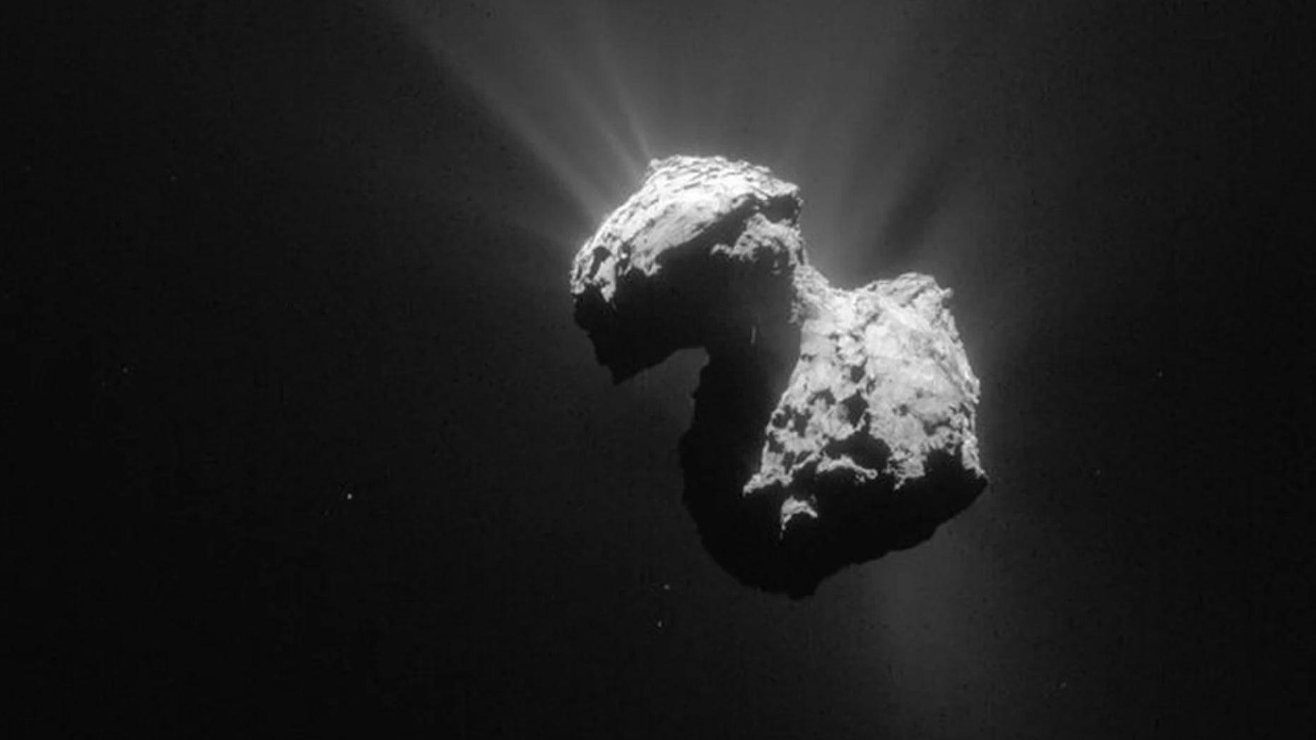 A single frame Rosetta navigation camera image of Comet 67P/Churyumov-Gerasimenko.