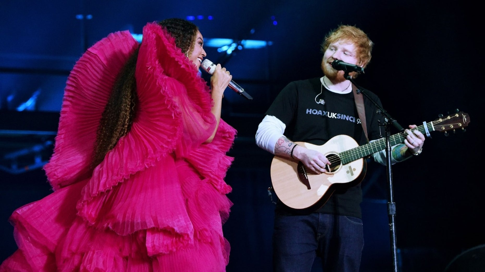 Beyoncé and Ed Sheeran performing together at the Global Citizen Festival in Johannesburg, South Africa, on Sunday, Dec. 2, 2018.
