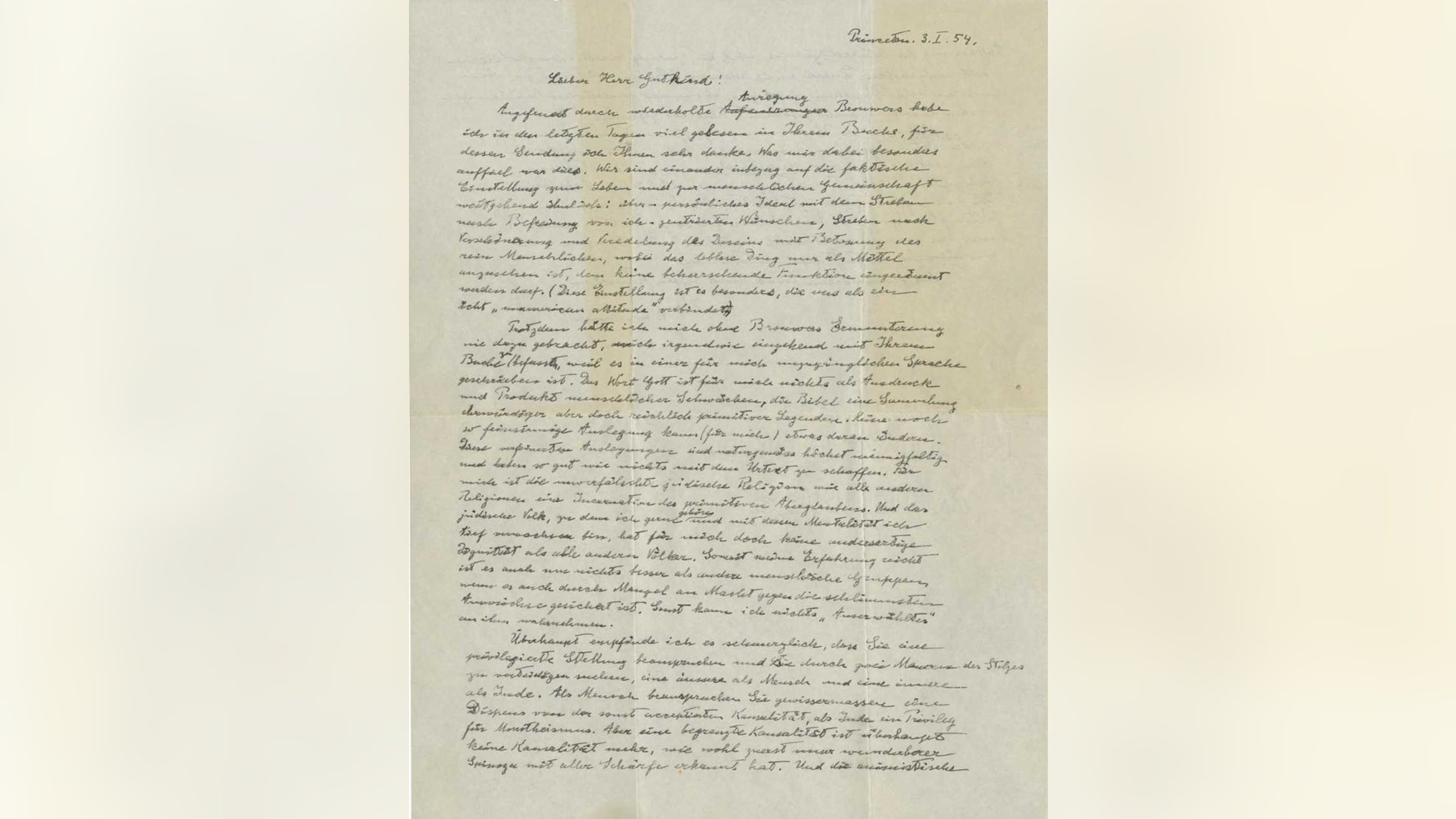 "EINSTEIN, Albert (1879-1955). Autograph letter signed (""A. Einstein"") to Eric Gutkind, Princeton, 3 January 1954. (Credit: CHRISTIE'S IMAGES LTD. 2018)"