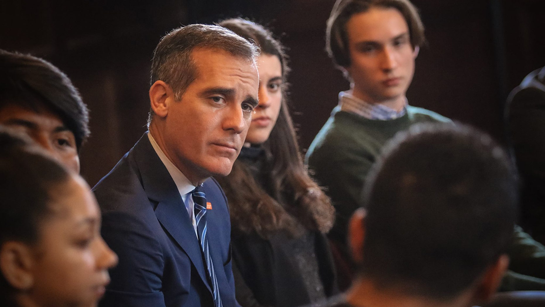 FILE: Los Angeles Mayor Eric Garcetti. Protesters reportedly interrupted his speech at USC on Monday.