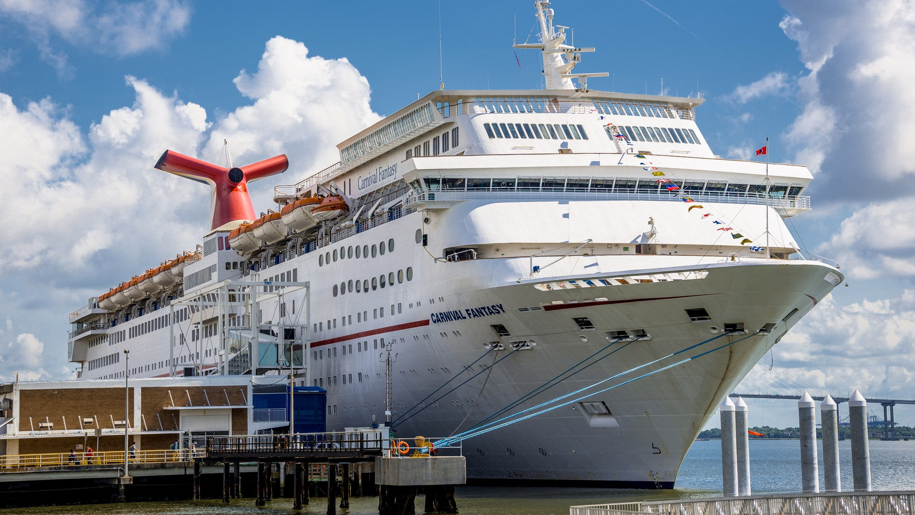 A passenger went missing from the Carnival Fantasy, seen at the Port of Charleston in 2015, while heading to a port in Cozumel, Mexico.