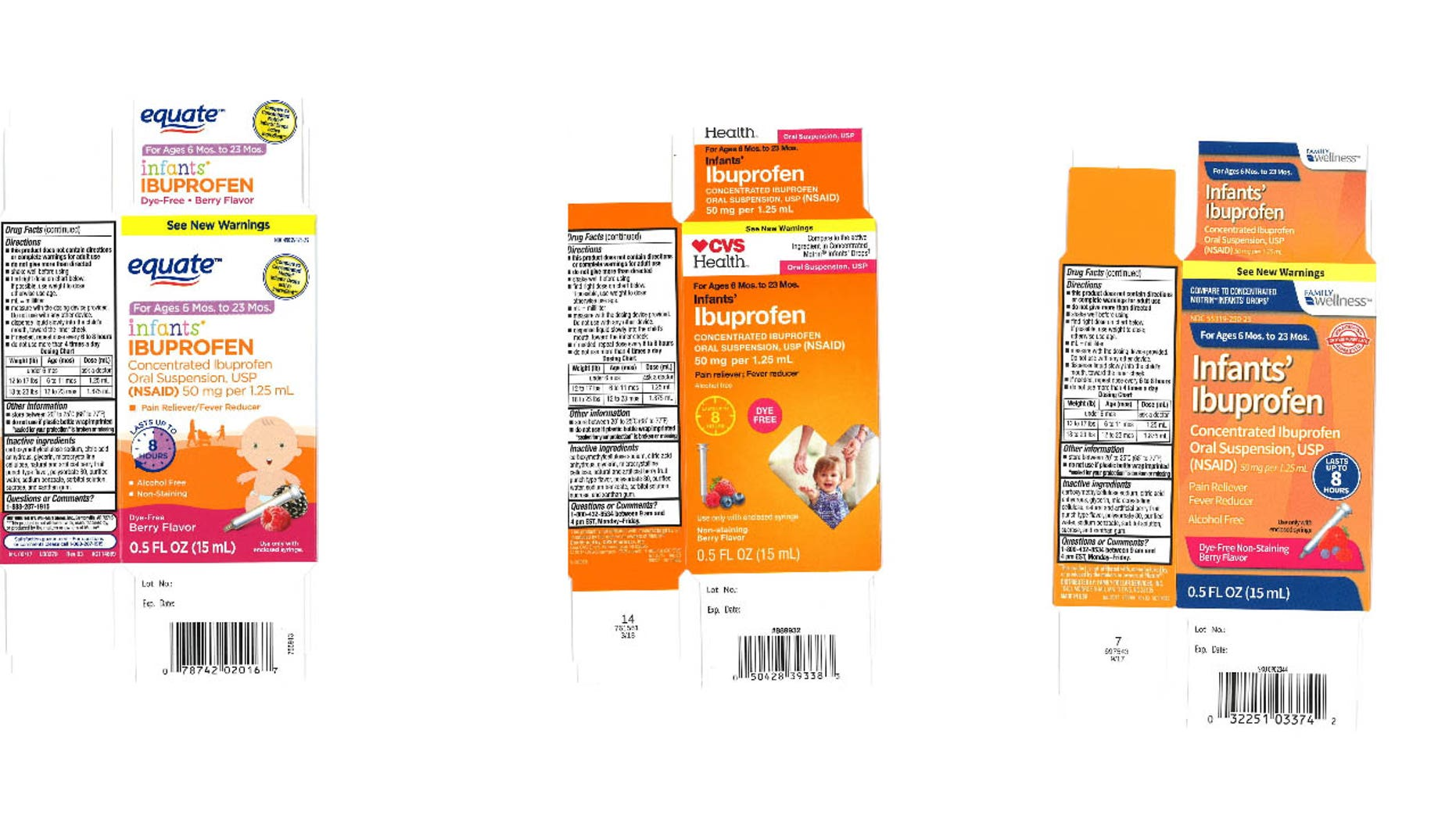 The recalled products are sold at Walmart, CVS andFamily Dollar stores nationwide.