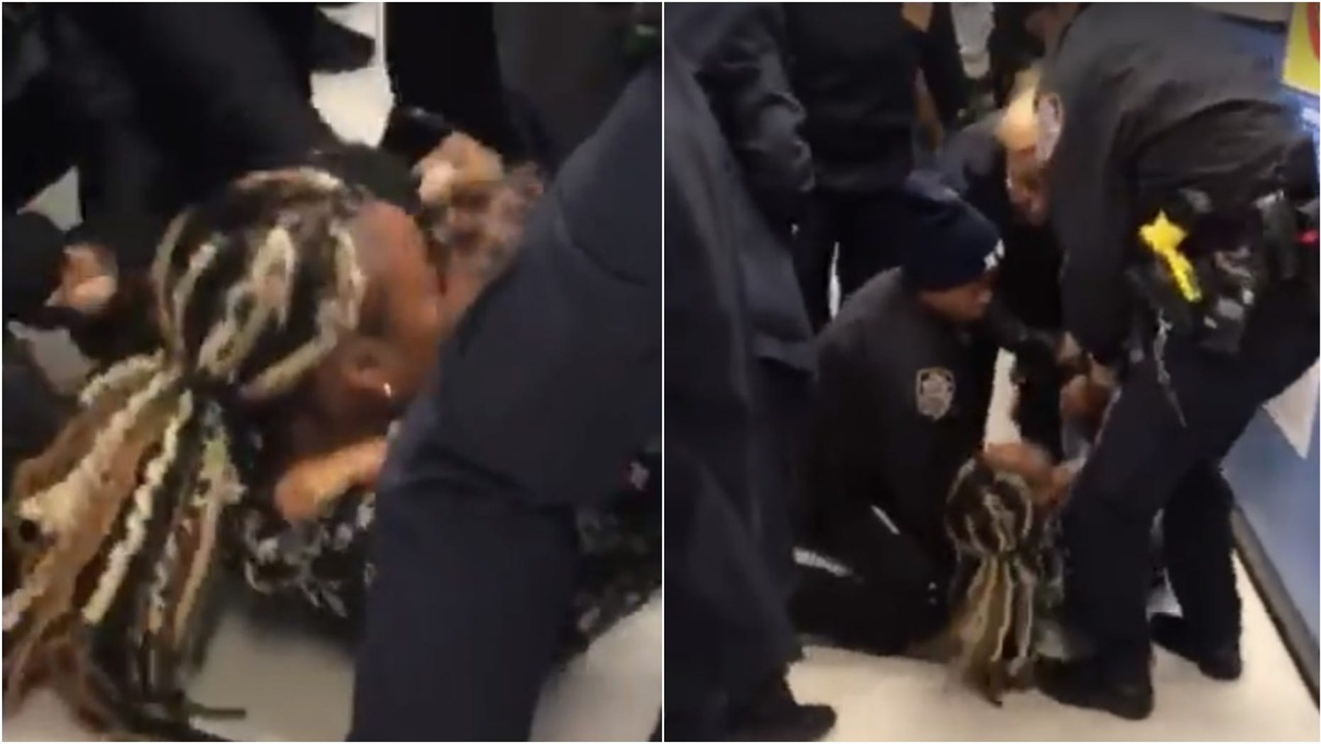 NYPD under fire for video showing officers wrestling baby away from woman
