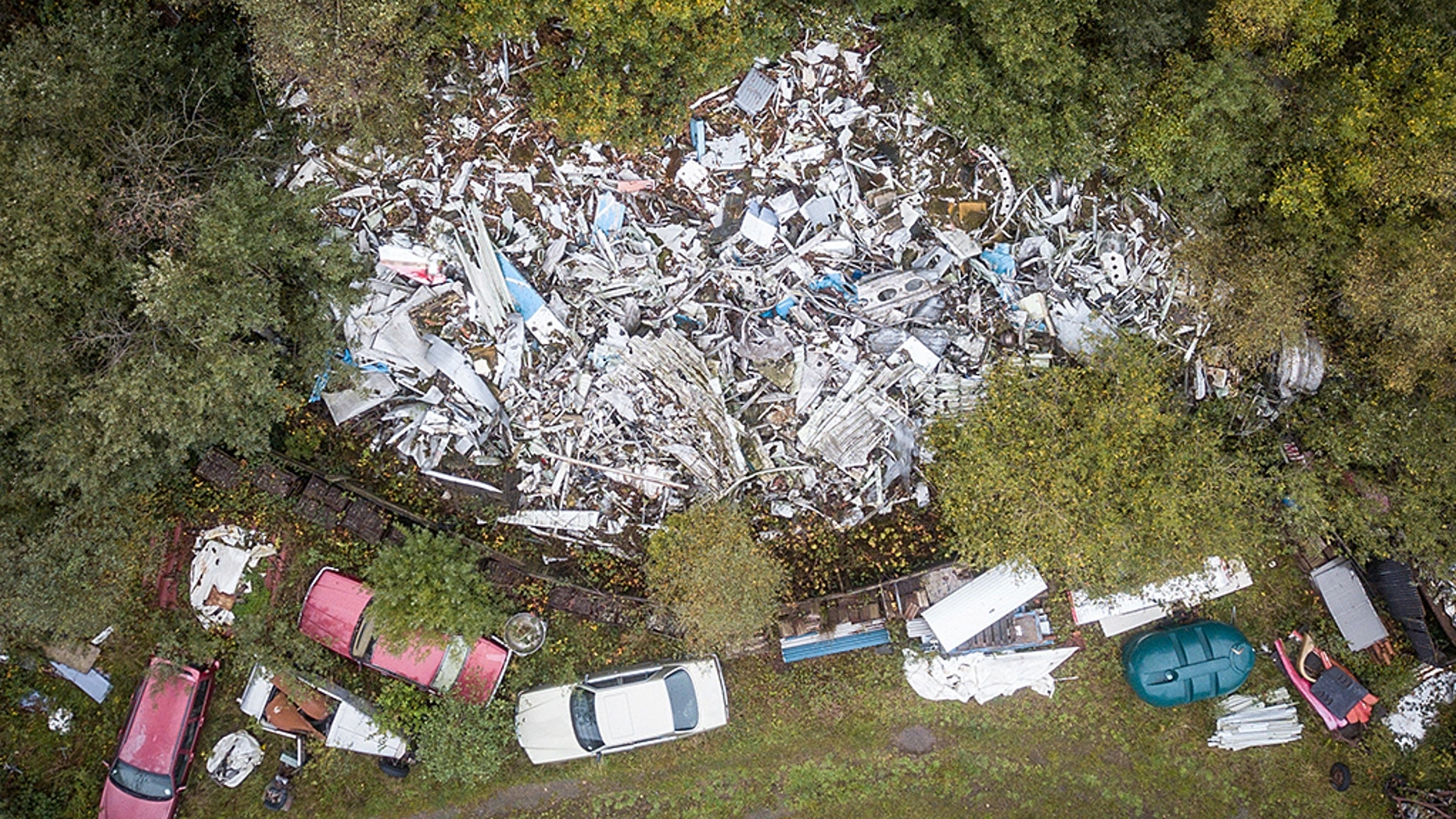 The wreckage of Pam Am flight 103, 30 years after the Lockerbie disaster, lays in a scrap yard in Tattershall, Lincolnshire, UK.
