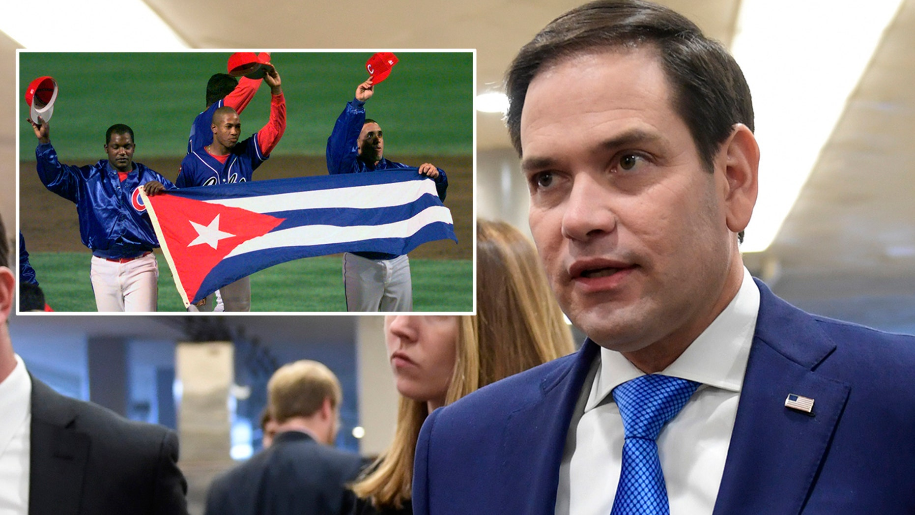 "U.S. Sen. Marco Rubio, R-Fla., says a recent deal between Major League Baseball and Cuba is a ""farce"" that would allow the Cuban government to impose a new tax on players' earnings."