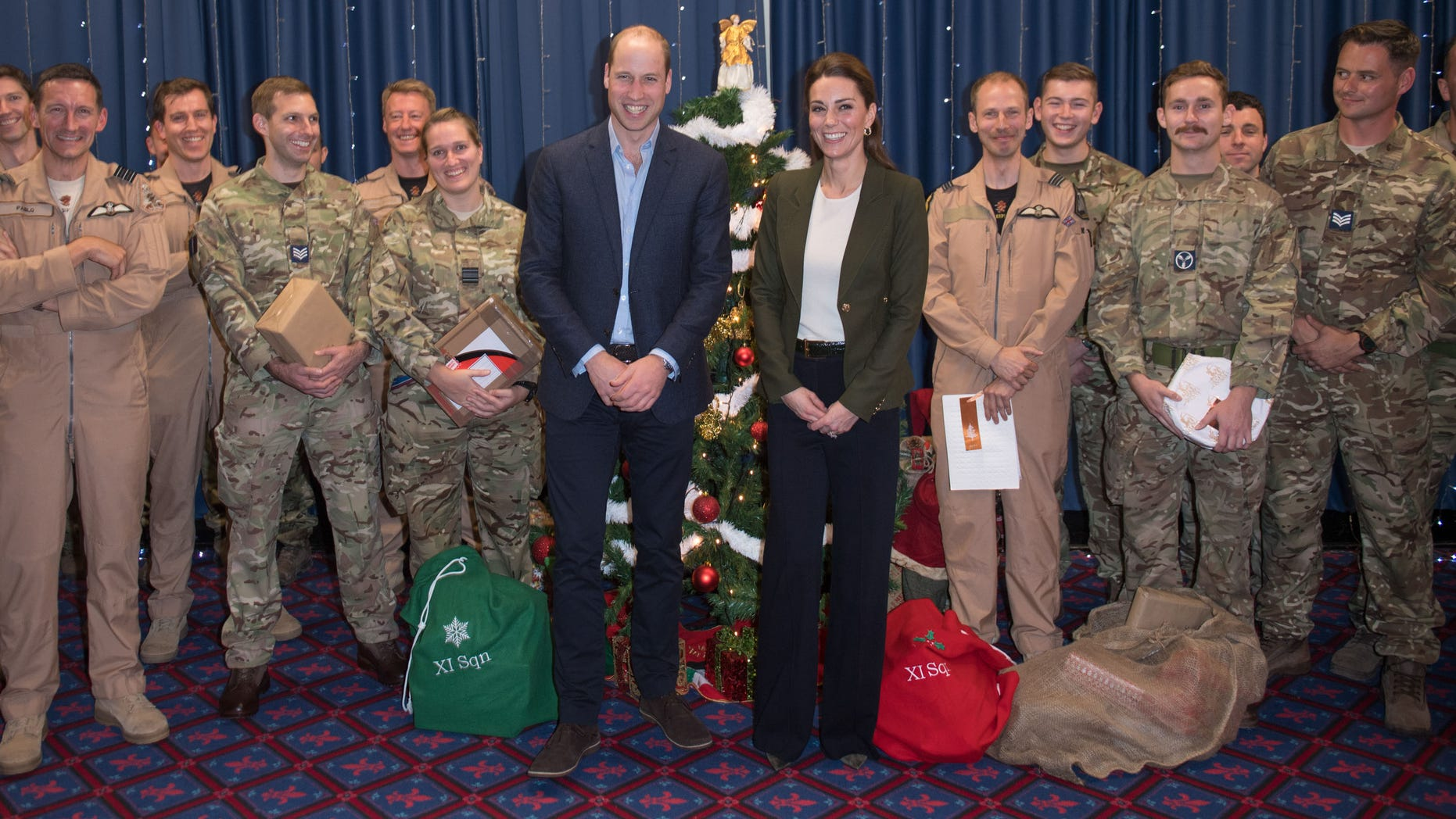 Prince William and Kate Middleton with troops in Cyprus