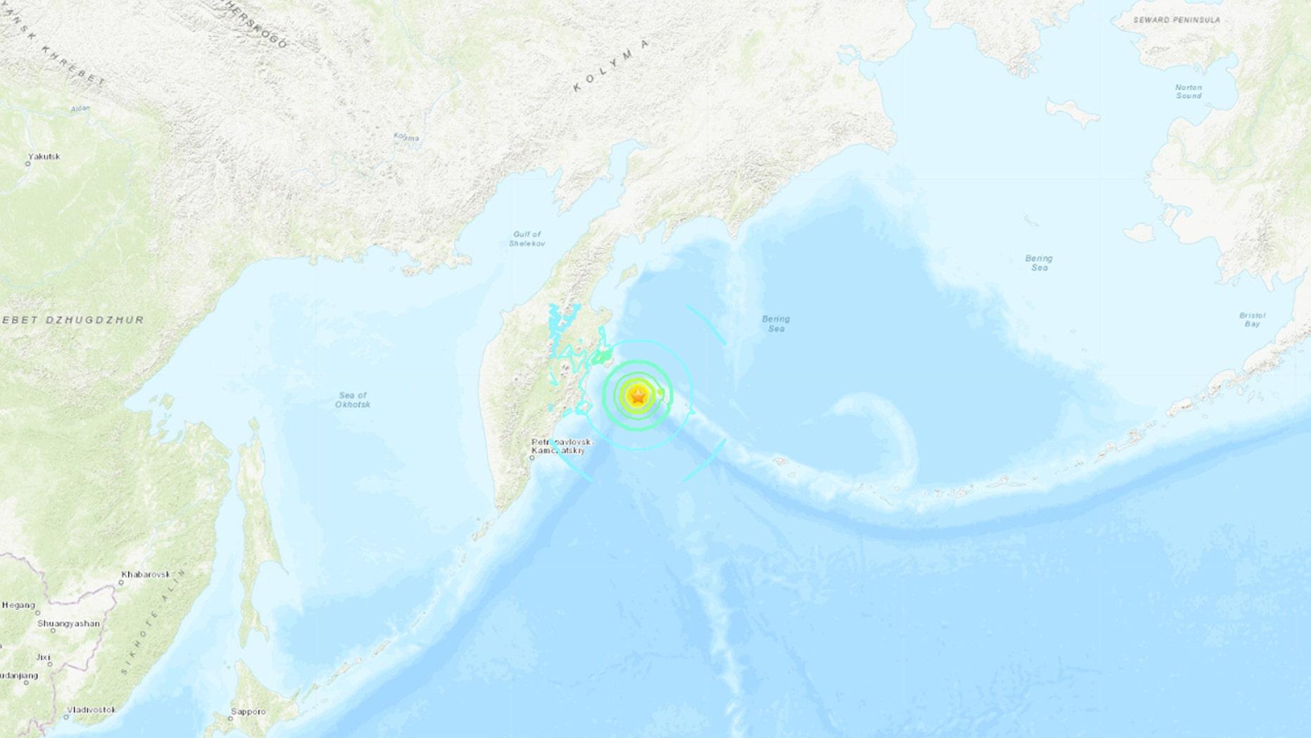 Magnitude 7.4 earthquake strikes off eastern coast of Russia ... on russia japan map, russia flood map, russia pollution map, russia weather map, russia volcano map, russia environment map, russia 1941 map, russia airport map, russia wildfires map, russia meteor map,