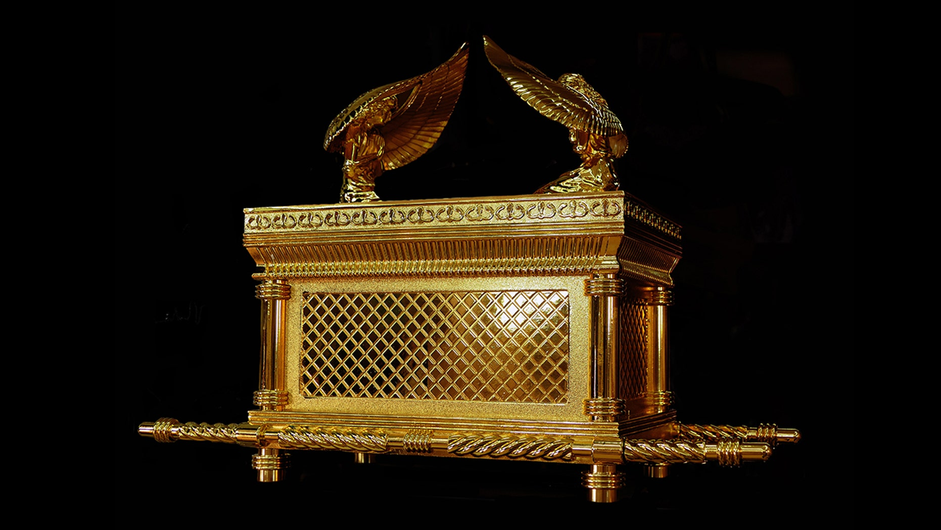 Replica of the Ark of the Covenant, a gold-covered wooden chest described in the Book of Exodus as containing the two stone tablets of the Ten Commandments. According to various texts within the Hebrew Bible, it also contained Aaron's rod and a pot of manna.