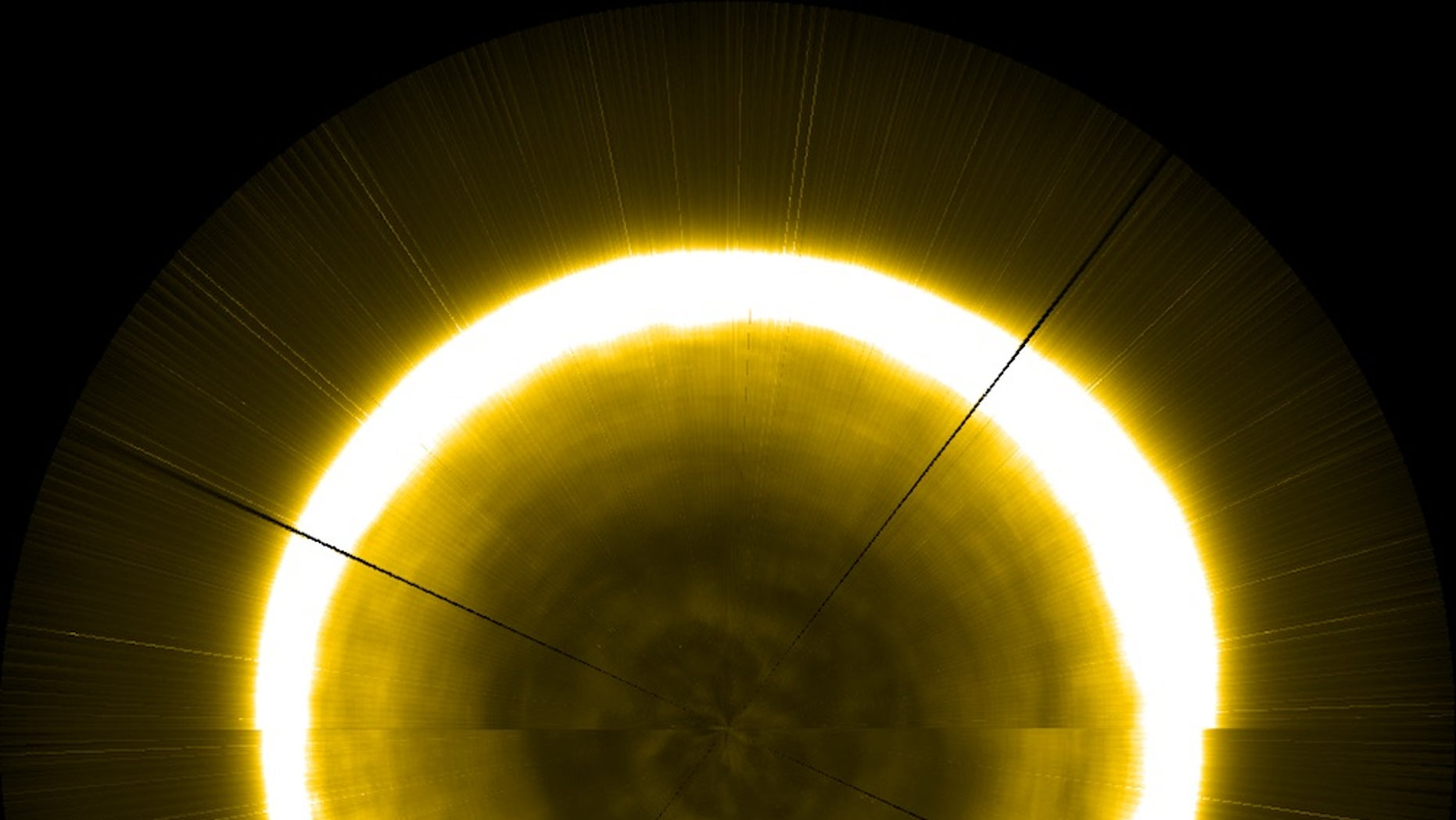 A gorgeous composite image of the sun's north pole, created using footage from the European Space Agency's Proba-2 satellite. Proba-2 launched in 2009 to observe space weather.