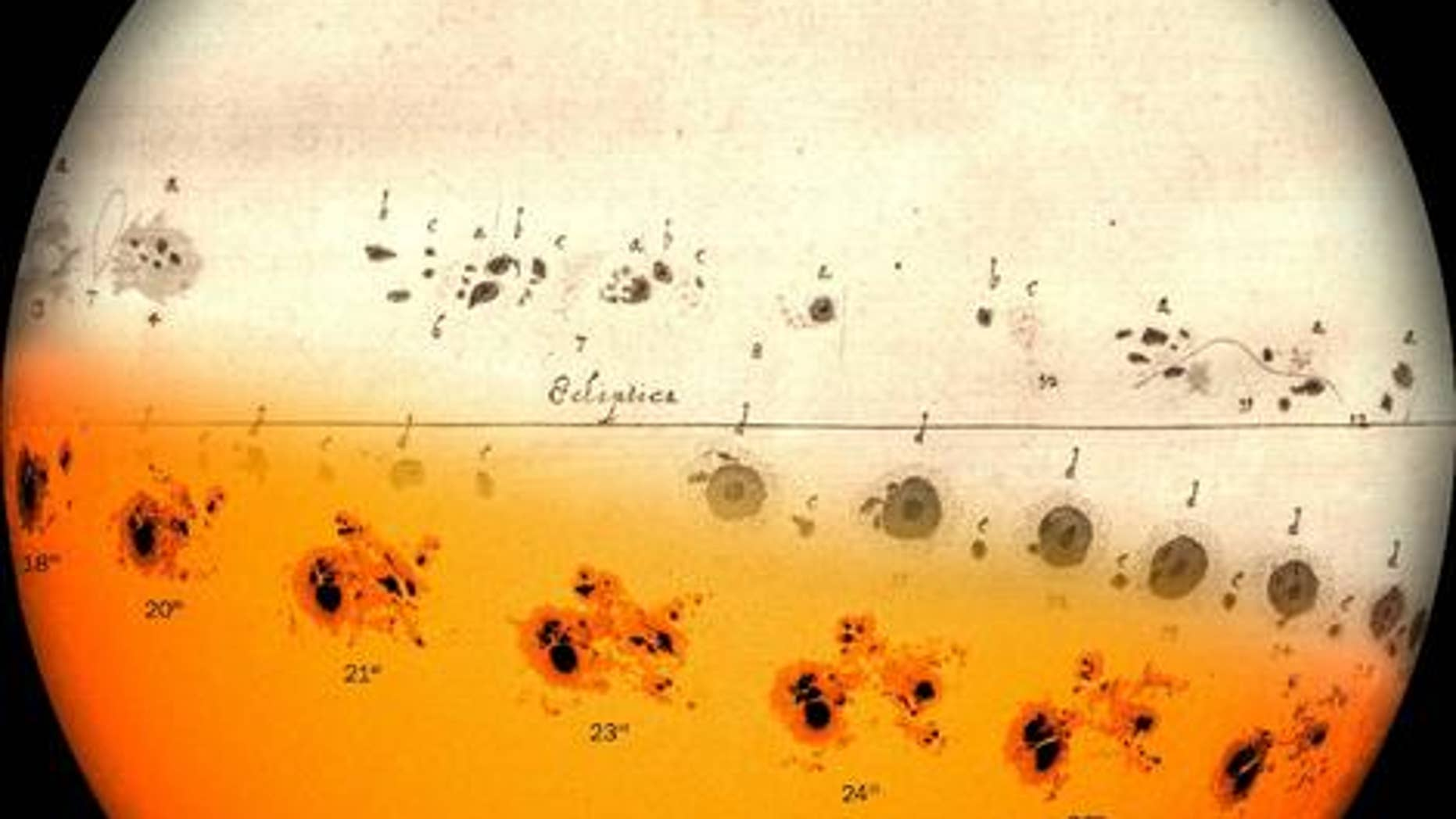 A team led by Andrés Muñoz-Jaramillo from the Southwest Research Institute integrated a sunspot drawing made by Hevelius in 1644 with images from NASA's Solar Dynamics Observatory. The variation of observation techniques comes through in the image.