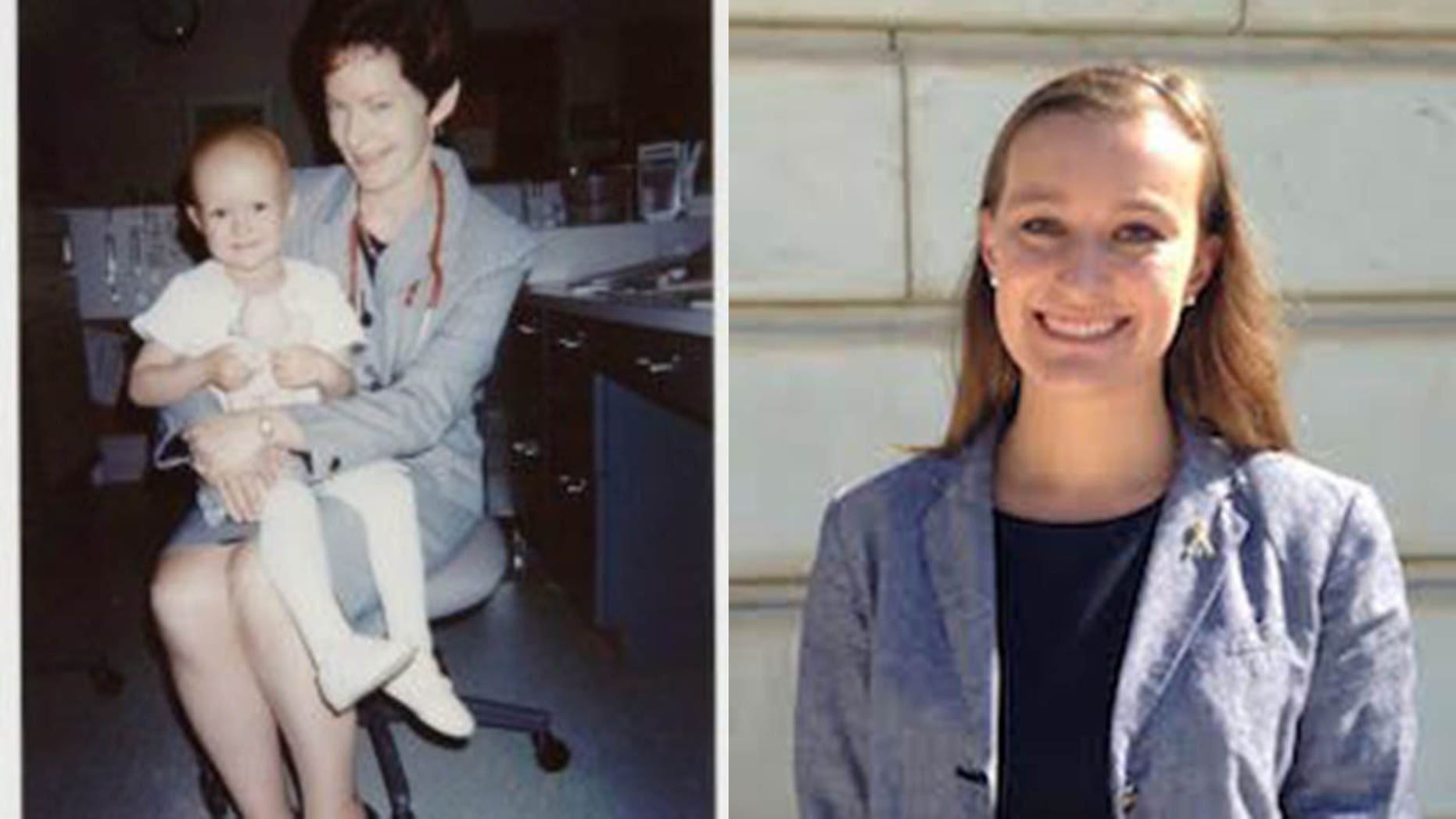 Jennifer Toth, pictured left with a member of her care team at CHOP, and right present day, now works as a nurse on an inpatient oncology unit at CHOP.