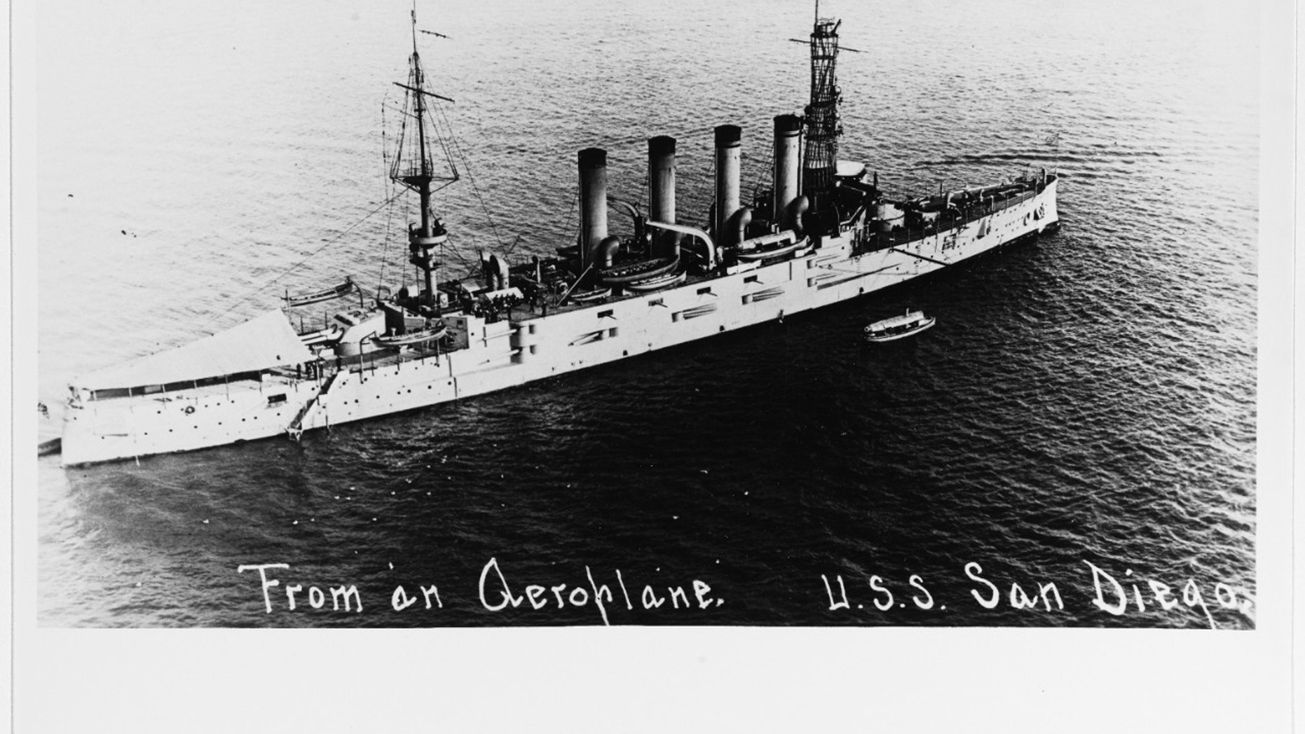 USS San Diego photographed from an airplane in San Diego harbor, Calif., on March 28, 1916. (Credit: Thomas P. Naughton, 1973. U.S. Naval History and Heritage Command Photograph.)