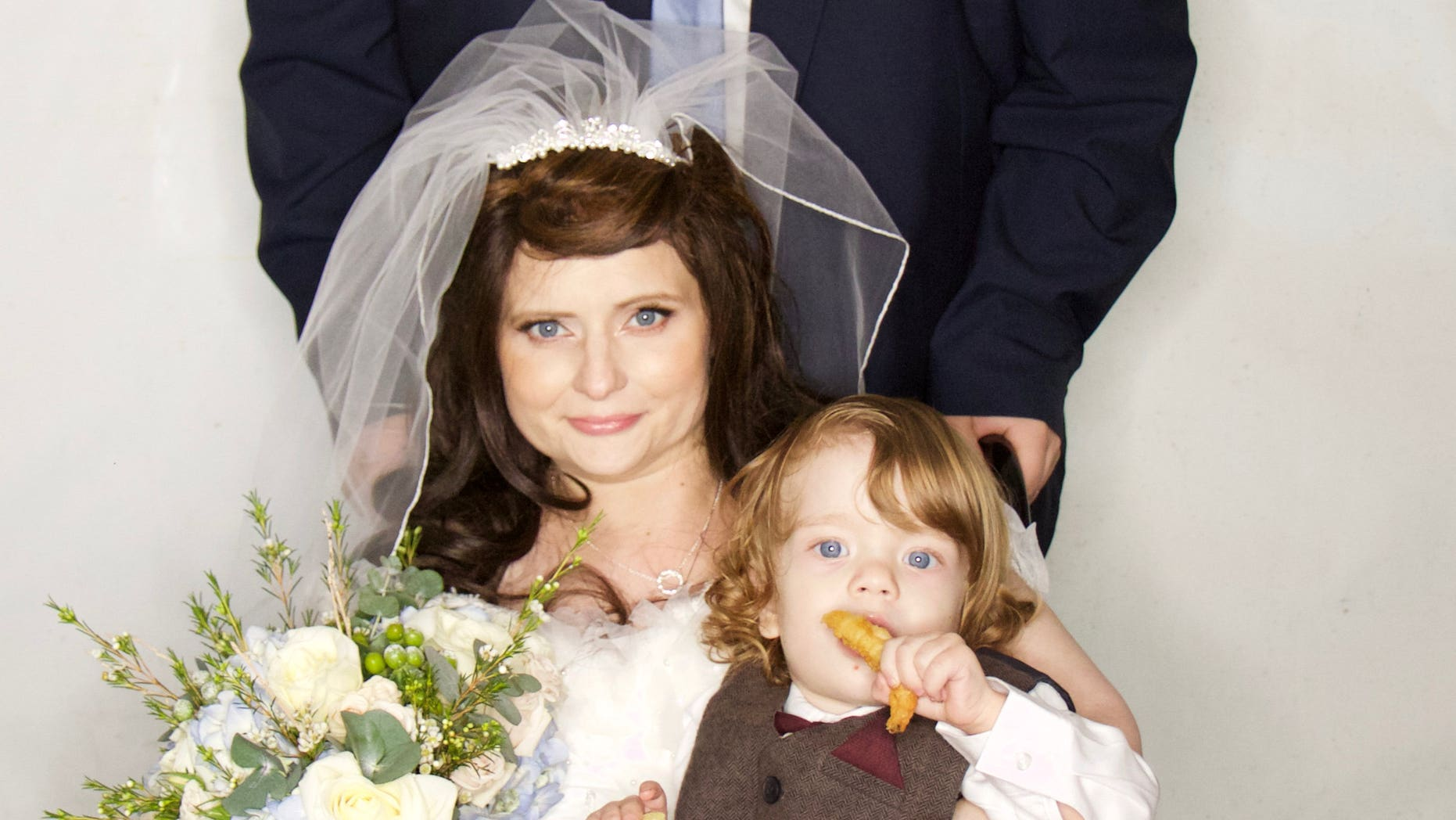 Tasha and Daniel Corley, pictured with son Alaric, were married at the Hospice of St Francis in Berkhamsted, Herts