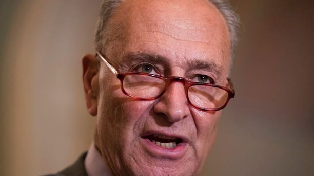 FILE: Senate Minority Leader Chuck Schumer, D-N.Y., speaks with reporters following the weekly Democratic policy meetings, at the Capitol in Washington.