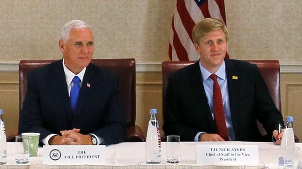 Chief of Staff to the Vice President, Nick Ayers (right), announced he's leaving the administration at the end of 2018, squashing rumors he would replace John Kelly as White House chief of staff.
