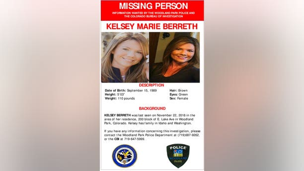 A missing person poster on Kelsey Berreth, seen on the Woodland Park, Colo., Police Department's Facebook page on Dec. 10, 2018.