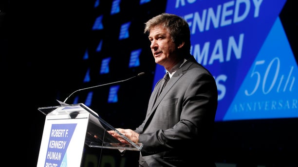 Actor Alec Baldwin speaks during the Robert F. Kennedy Human Rights Ripple of Hope Awards ceremony, Wednesday, Dec. 12, 2018, in New York. (Associated Press)