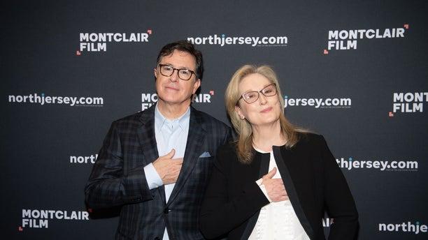 Stephen Colbert & Meryl Streep speak at Evening With Stephen Colbert & Meryl Streep at NJPAC on December 1, 2018 in Newark, New Jersey.