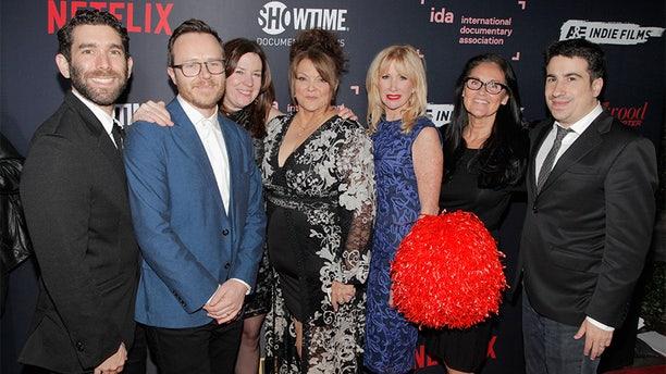 "Jason Goldman, Galen Summer, Molly Thompson, Jackie Rohrs, Rhonda Crossland, Lynita Stuart, Van Beneden and Jeremy Yaches of ""Sidelined'"" attend the 2018 IDA Documentary Awards on December 8, 2018 in Los Angeles, California. — Getty"