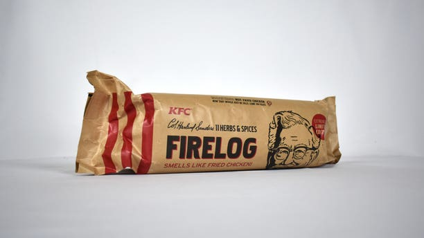 """""""Now, this winter we're bringing all the things we love – family, friends and fried chicken – together around the fire with our scented firelog,"""" a KFC executive said."""