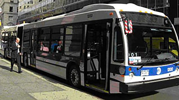 A man was caught on video attacking an MTA bus.
