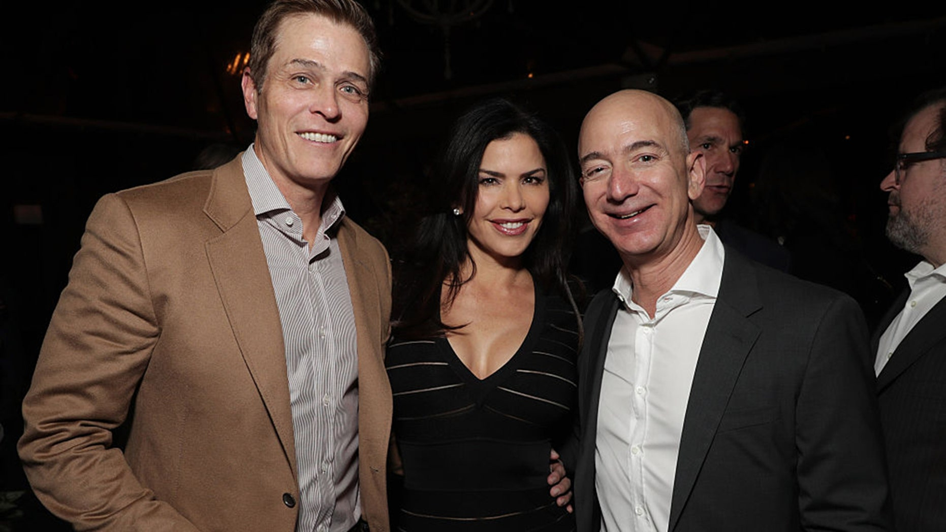 Lauren Sanchez and her reportedly-estranged husband Patrick Whitesell with Amazon CEO Jeff Bezos in 2016