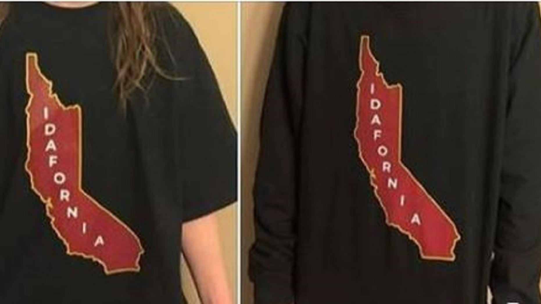 "The ""Idafornia"" shirt combines the names and portions of Idaho and California."